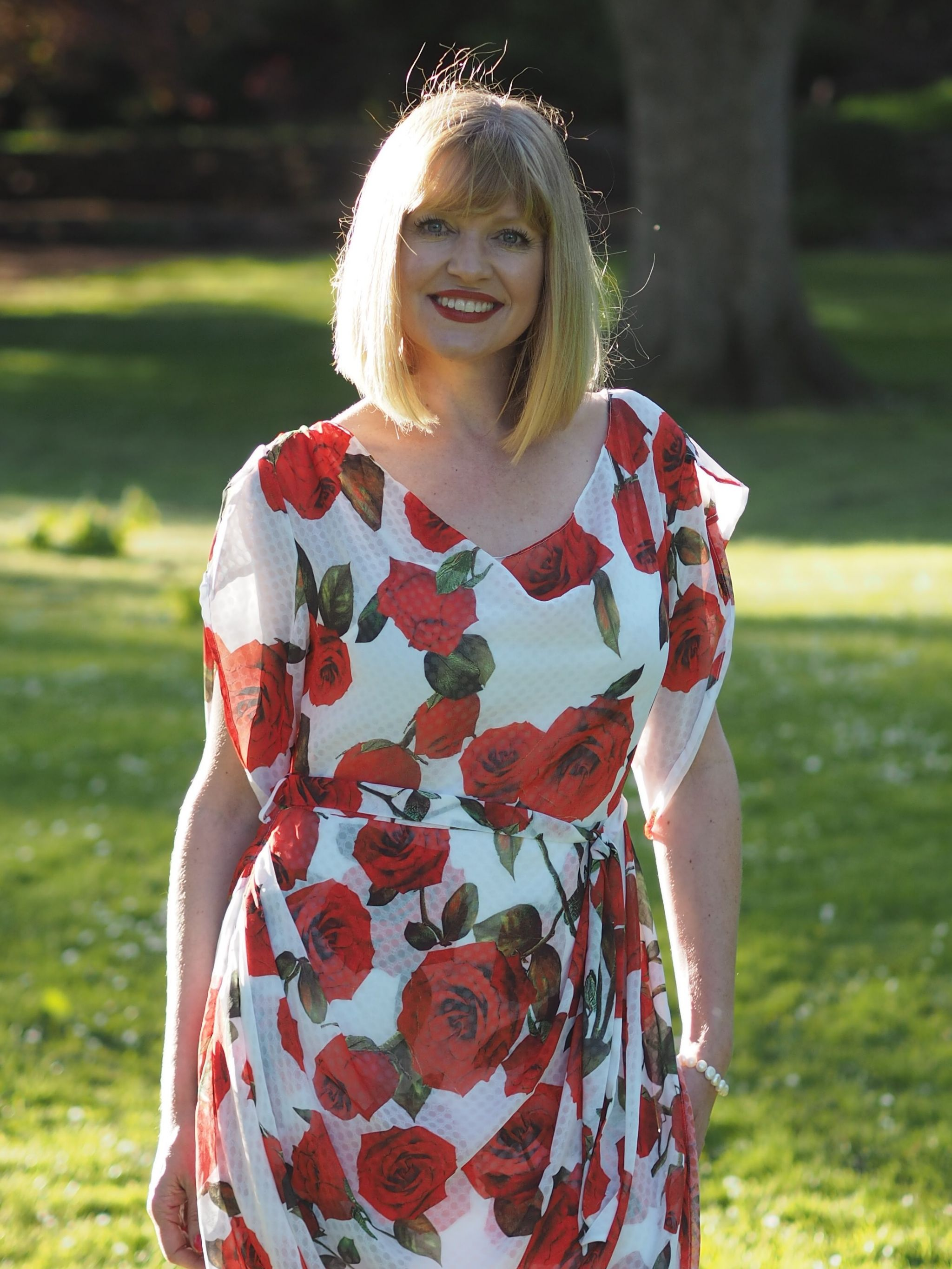 what lizzy loves draped red roses dress