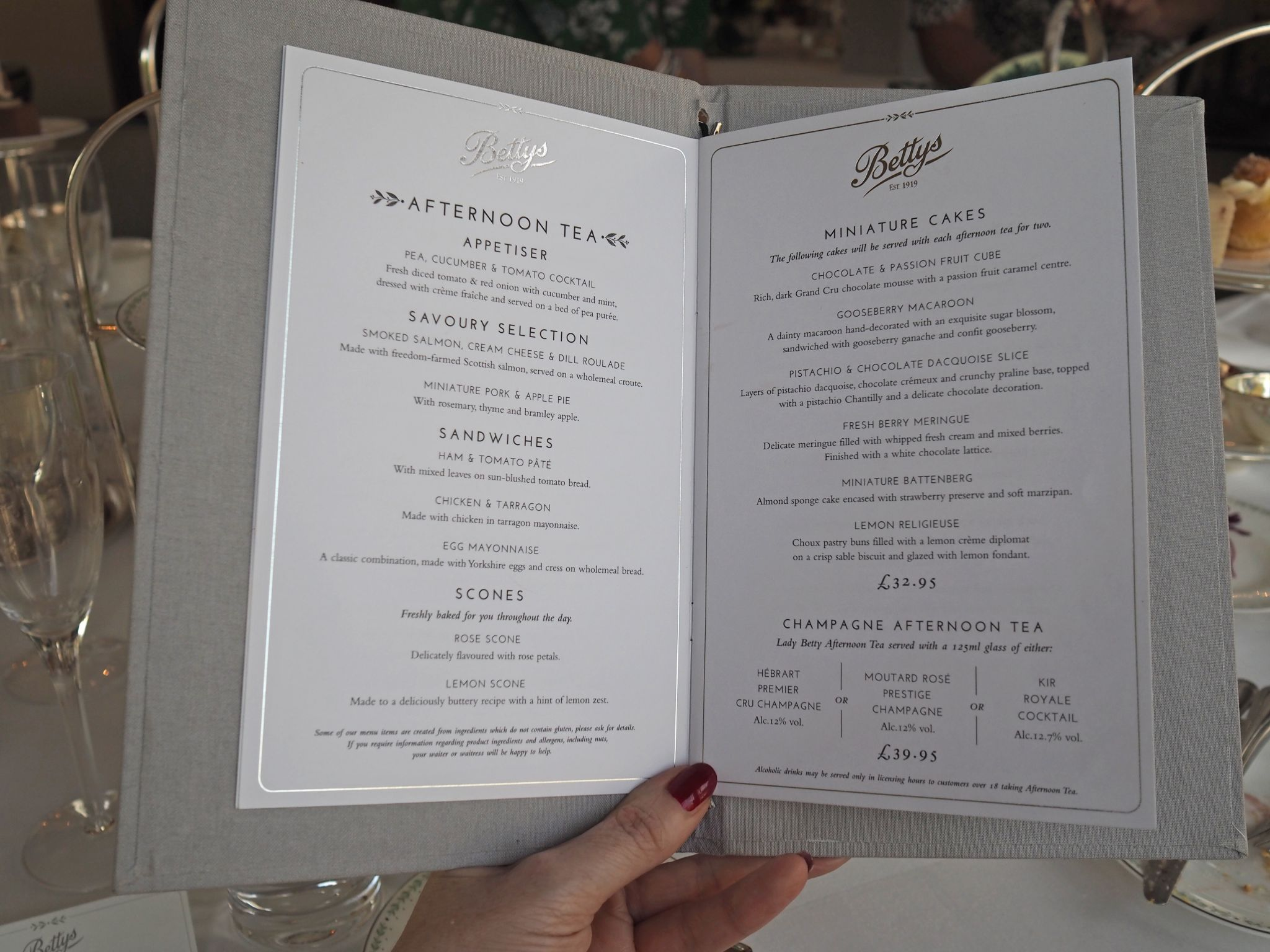 what Lizzy Loves afternoon tea at Bettys menu