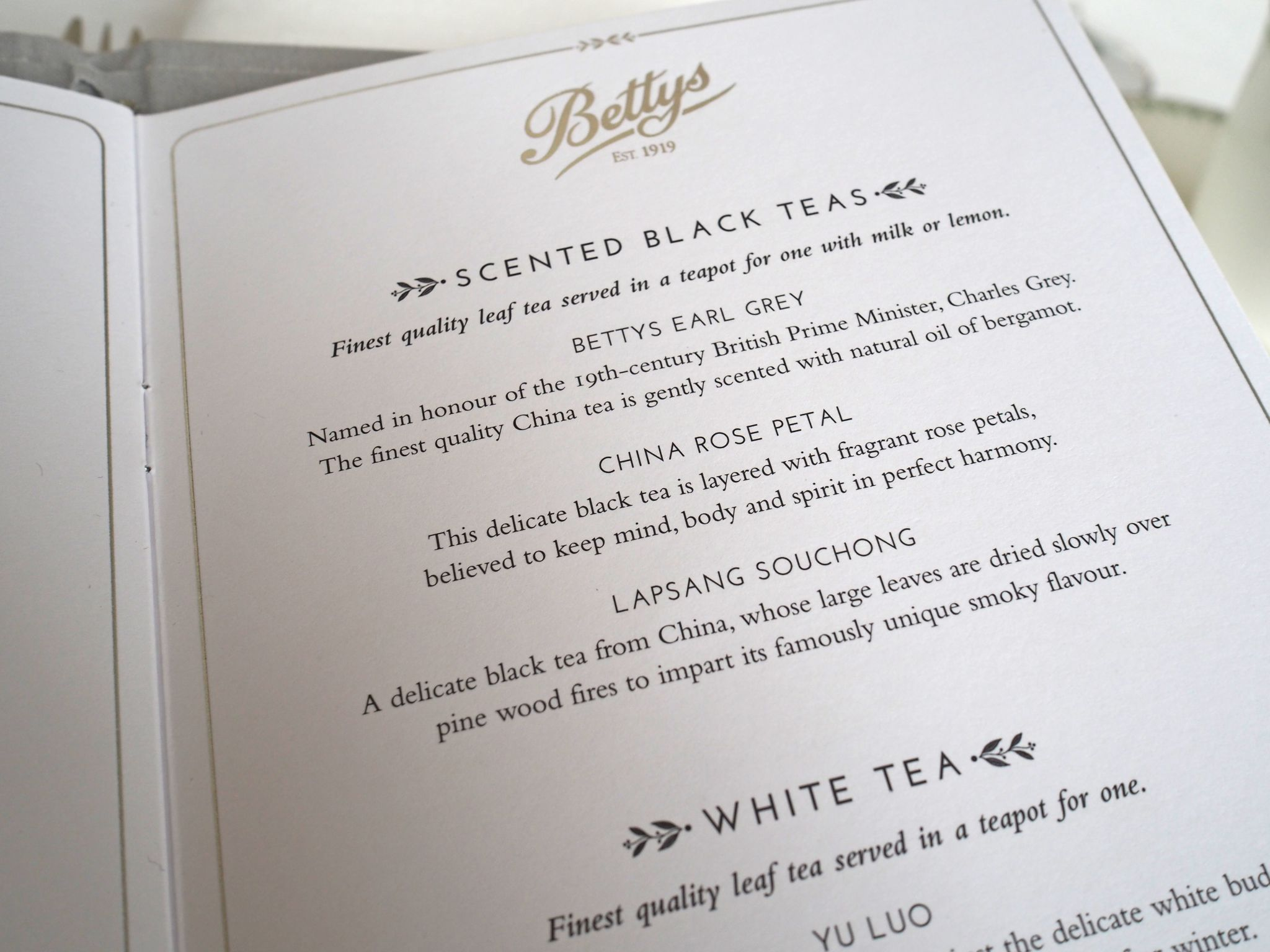 Afternoon tea at Bettys tea menu