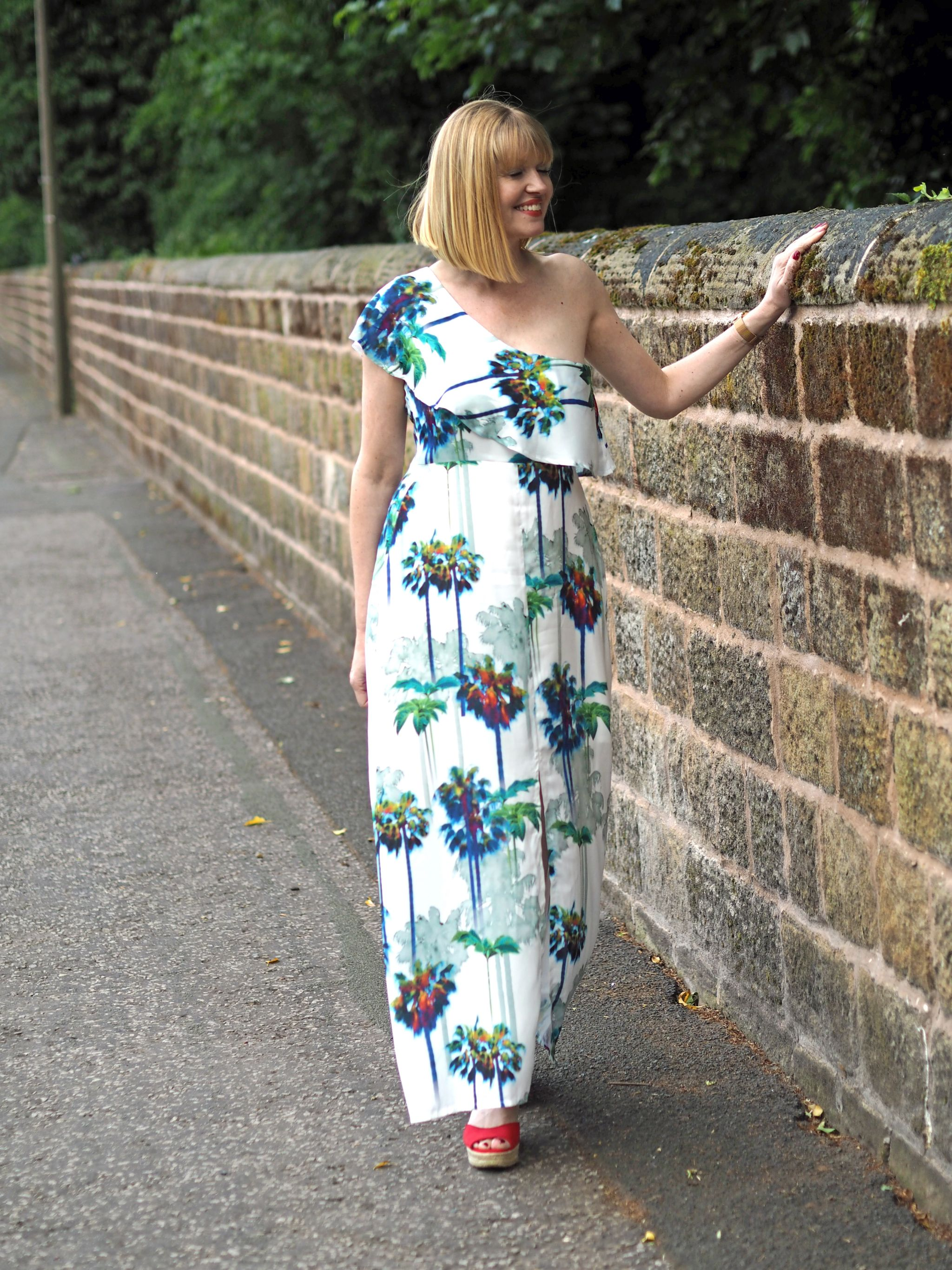 Tropical Palm Print Maxi Dress