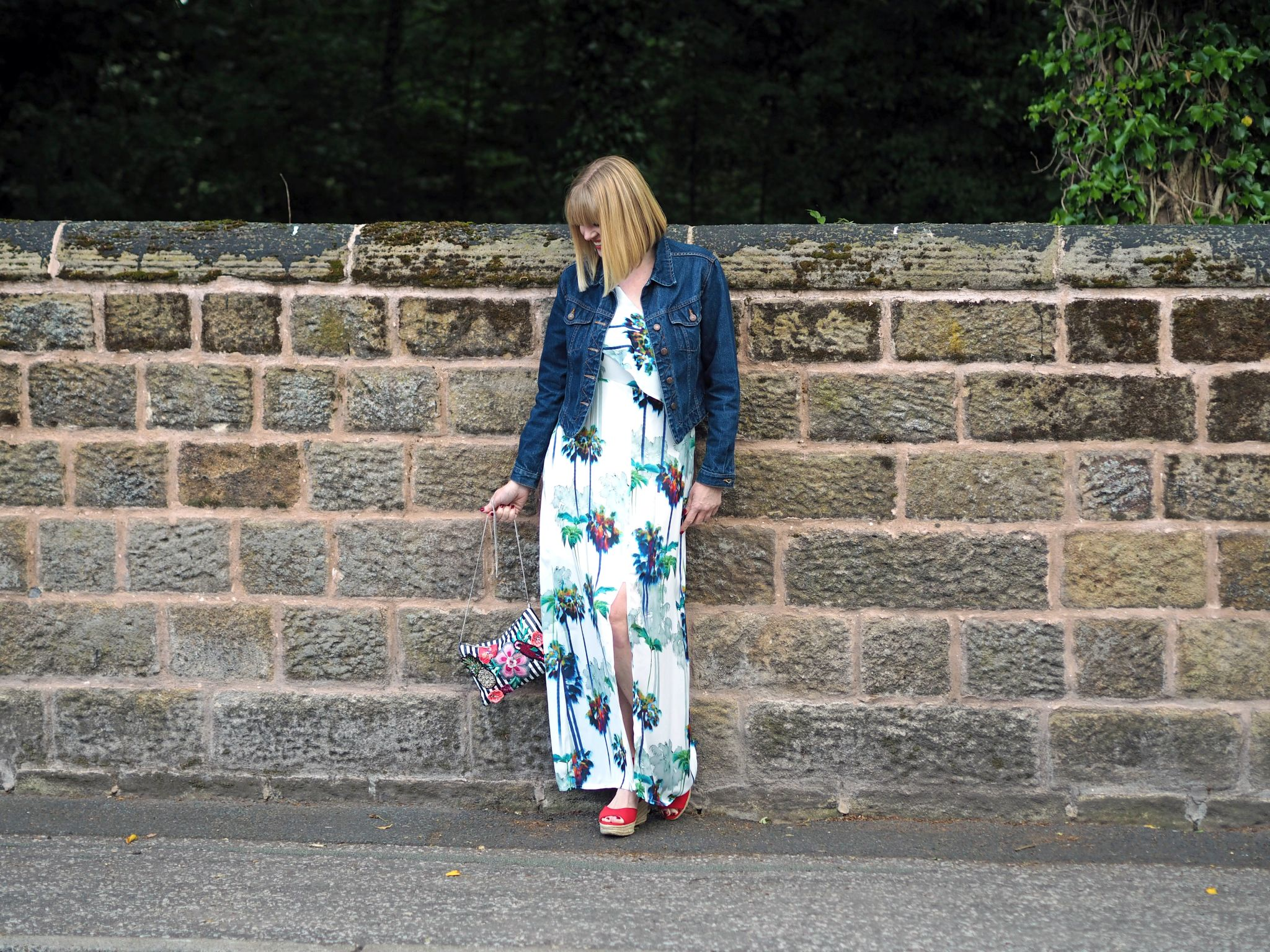 one shoulder palm print maxi dress denim jacket
