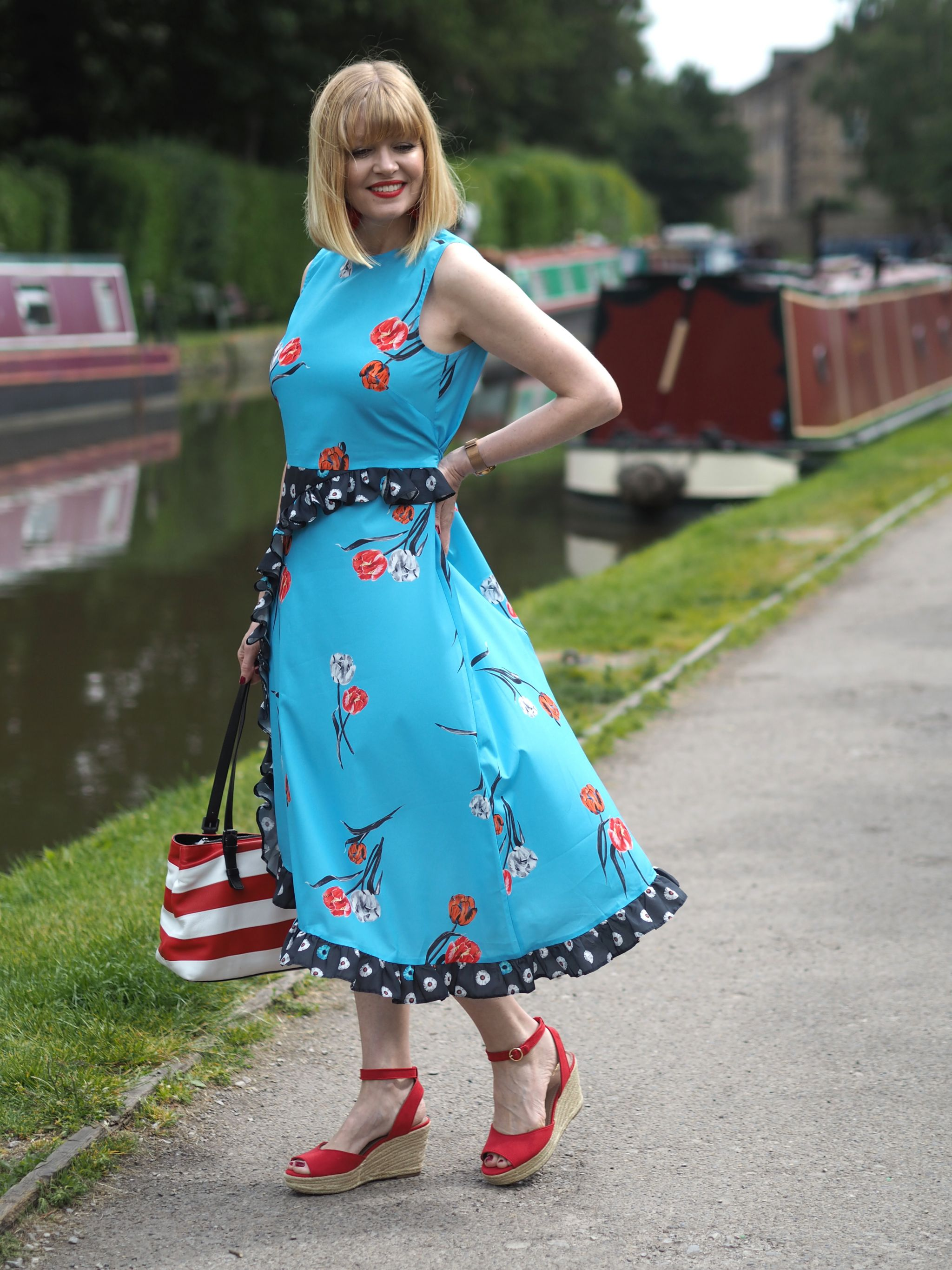 what lizzy loves pattern mixing floral dress