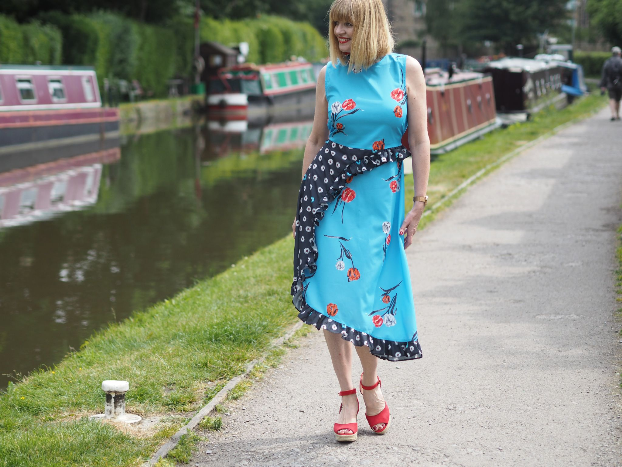 pattern mix midi dress