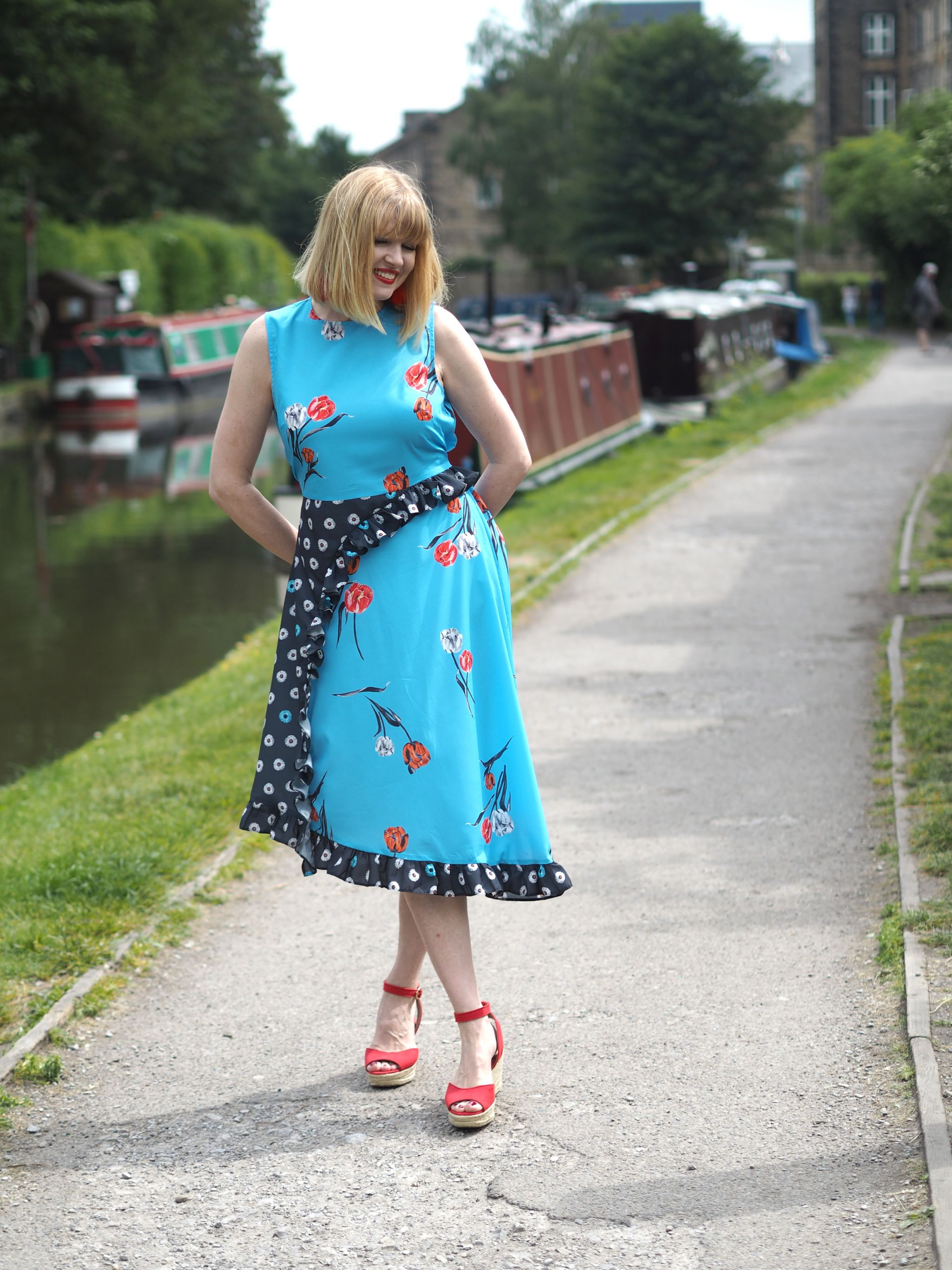 what lizzy loves pattern mix midi dress