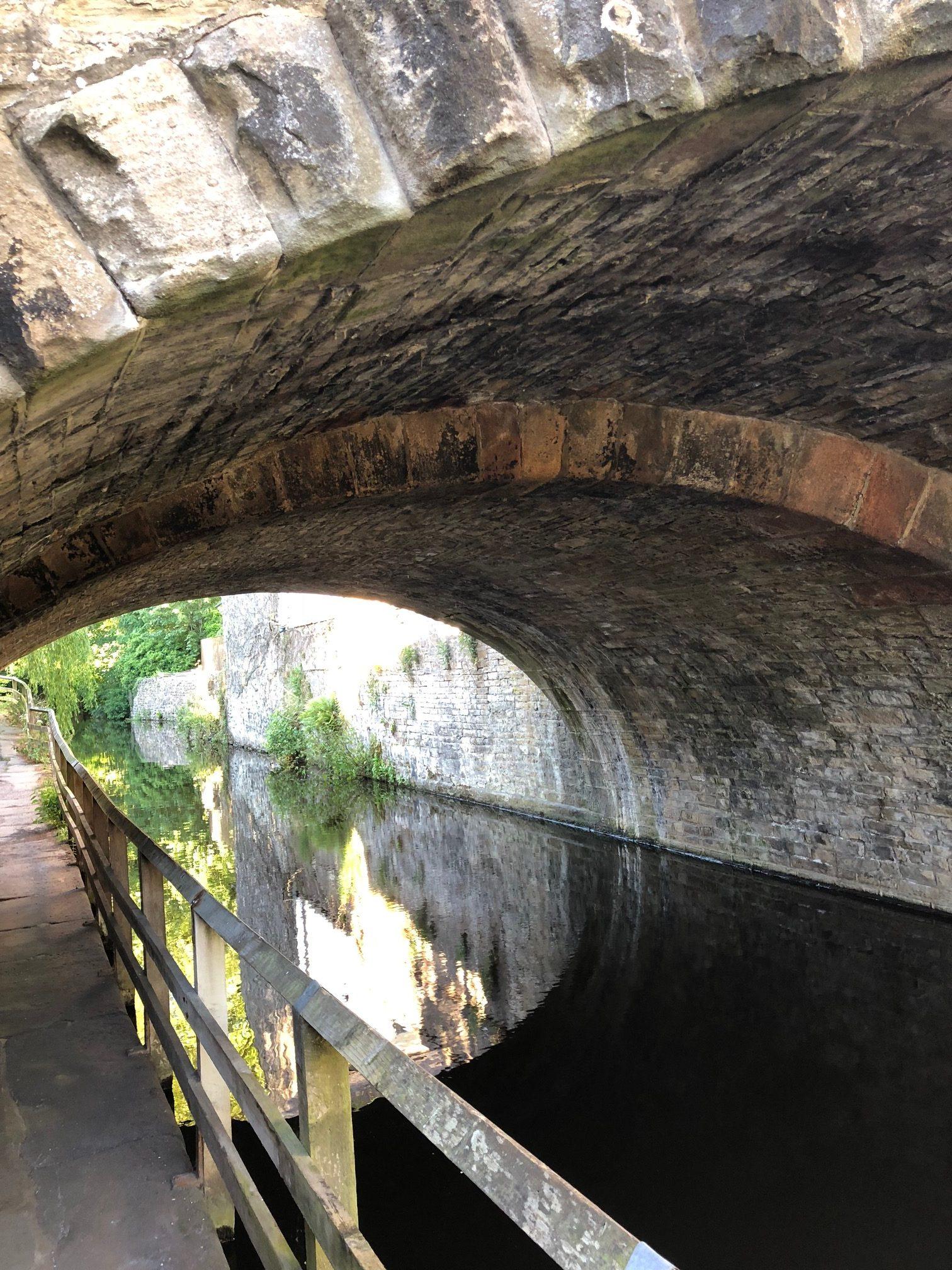 Skipton canal bridge and reflection