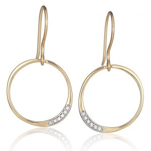 Diamond Drop Gold Hoop Earrings