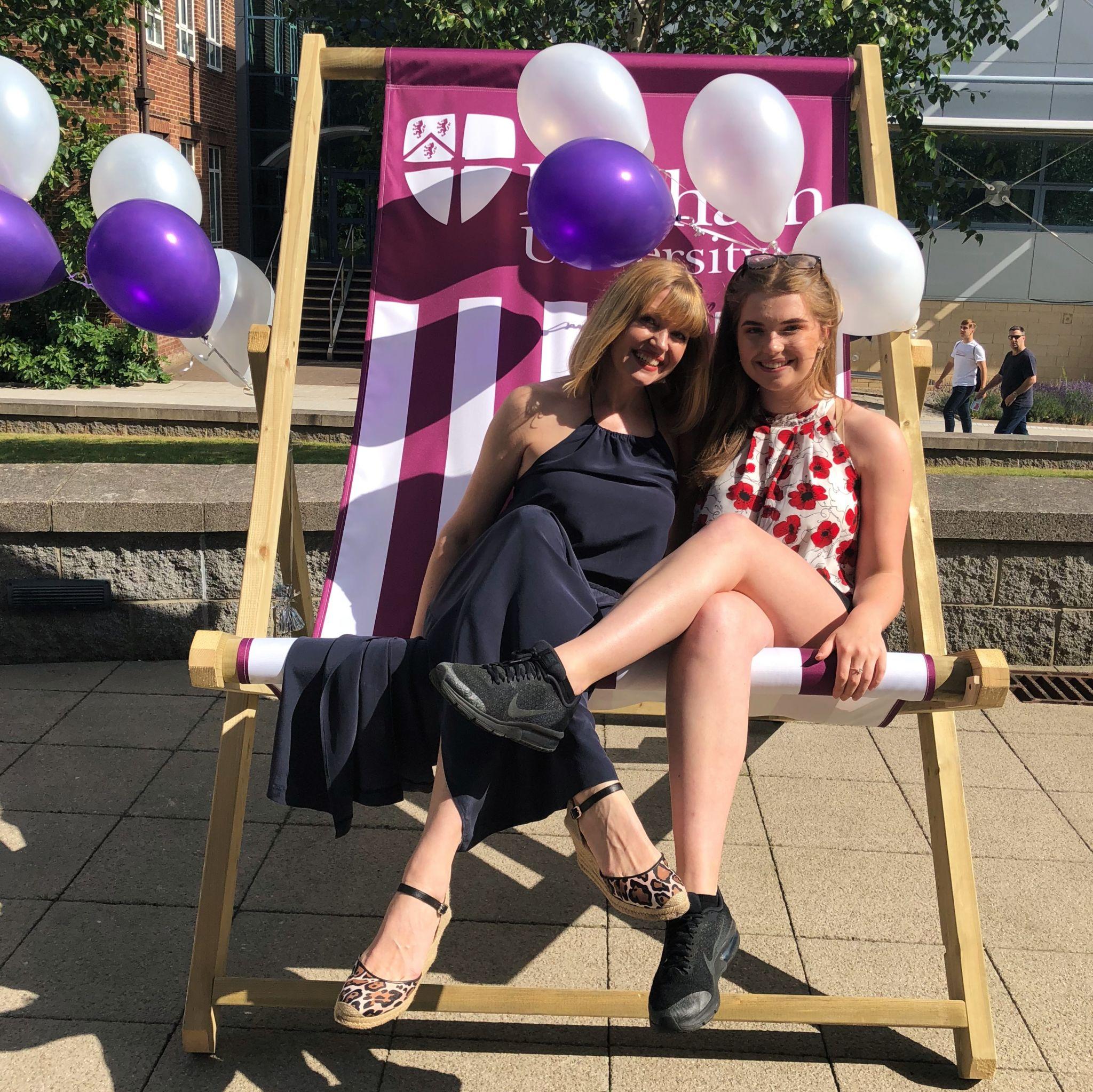 What Lizzy Loves Durham university open day giant deckchair