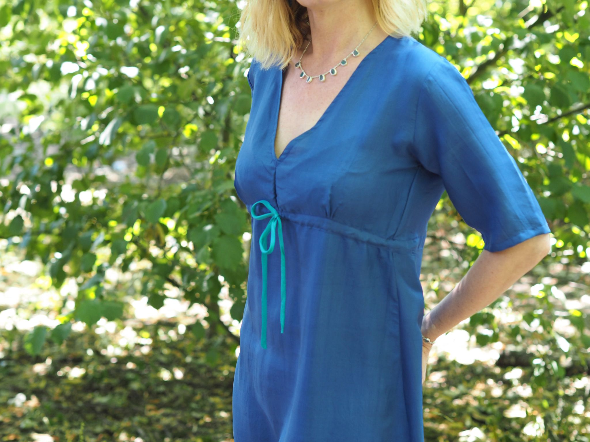 what lizzy loves turquoise silk dress