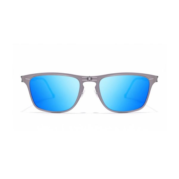 ROAV eyewear silver frames blue mirror lenses