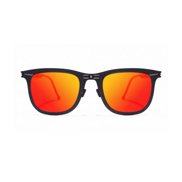 ROAV eyewear Lennon black frame red mirror lenses