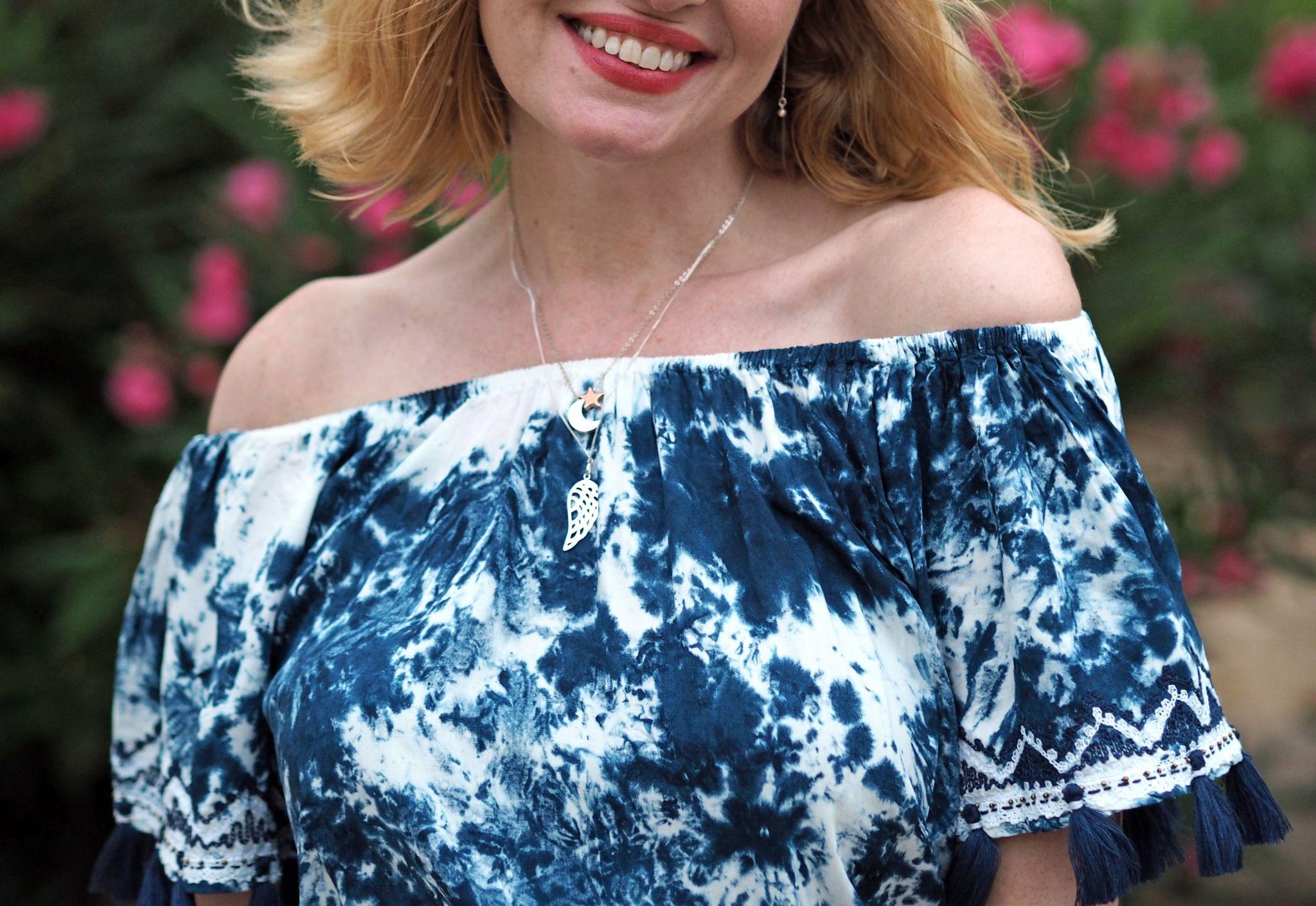 tie-dye maxi dress silver earrings