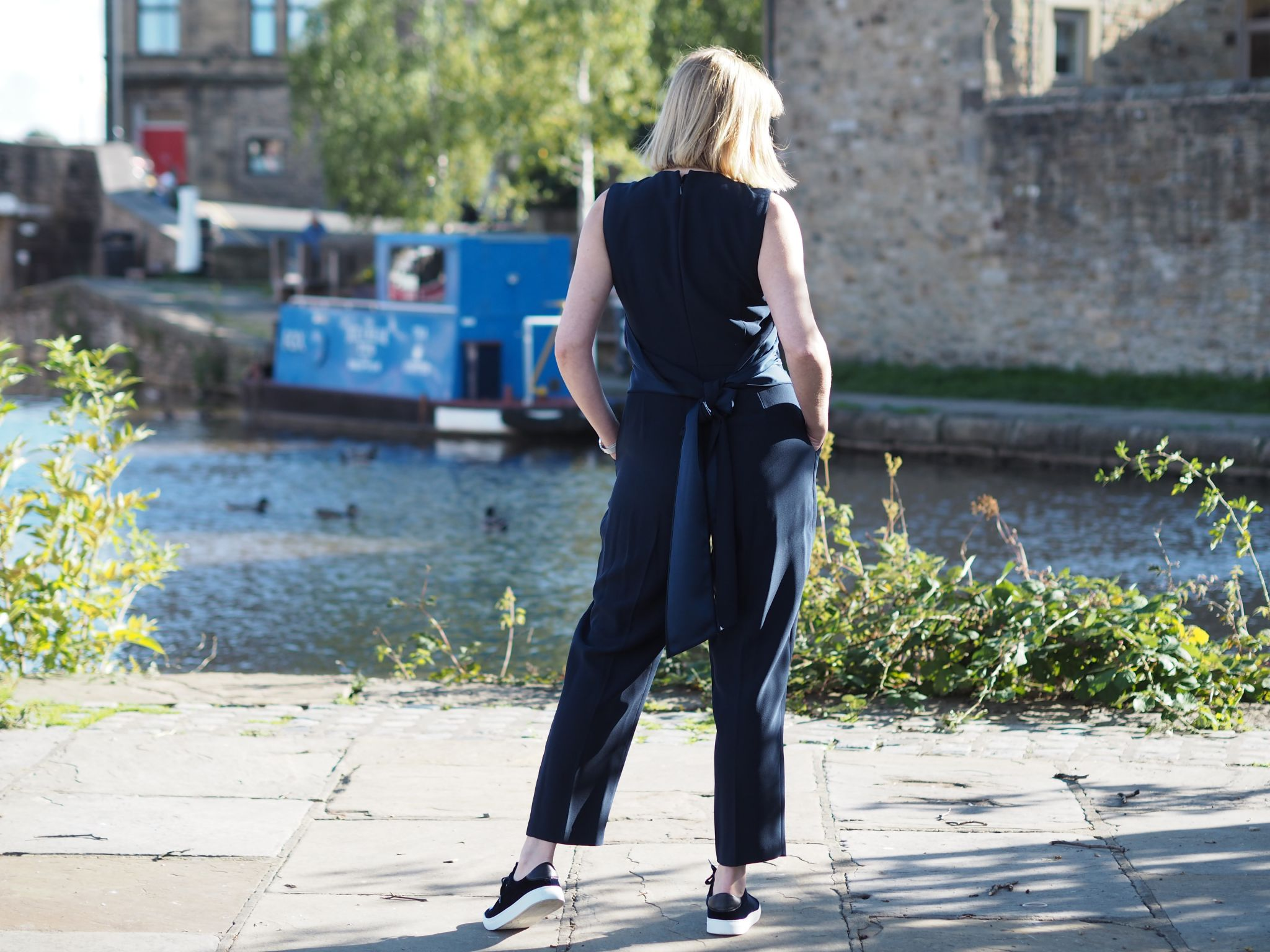 hobbs cropped navy jumpsuit with tie waist