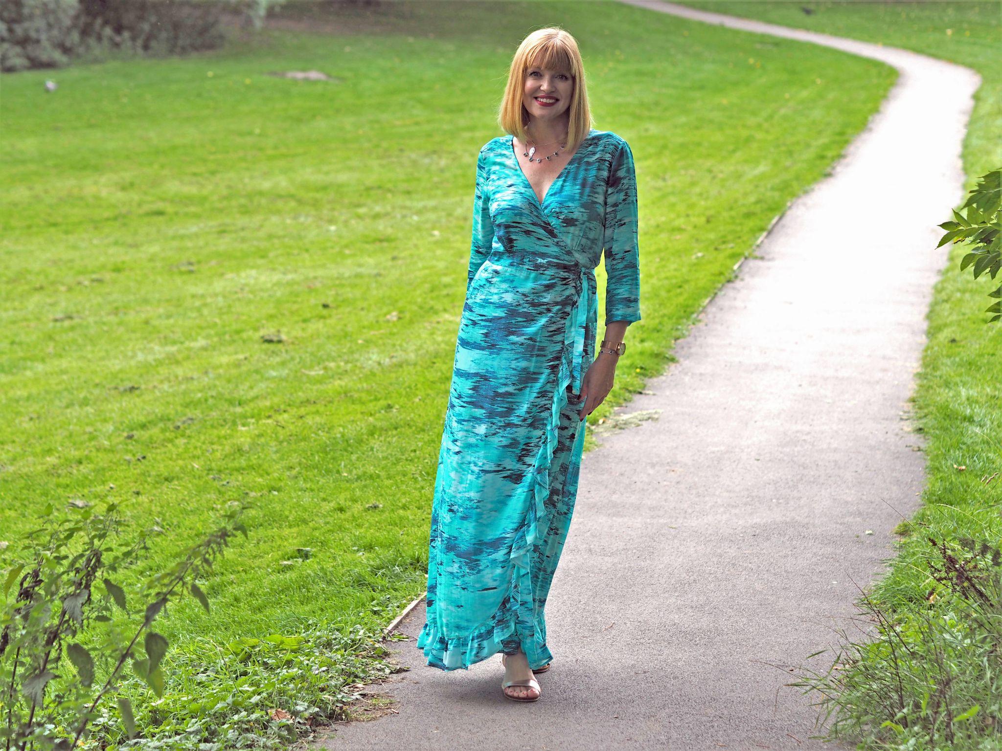 sophia alexia maxi ruffle wrap dress
