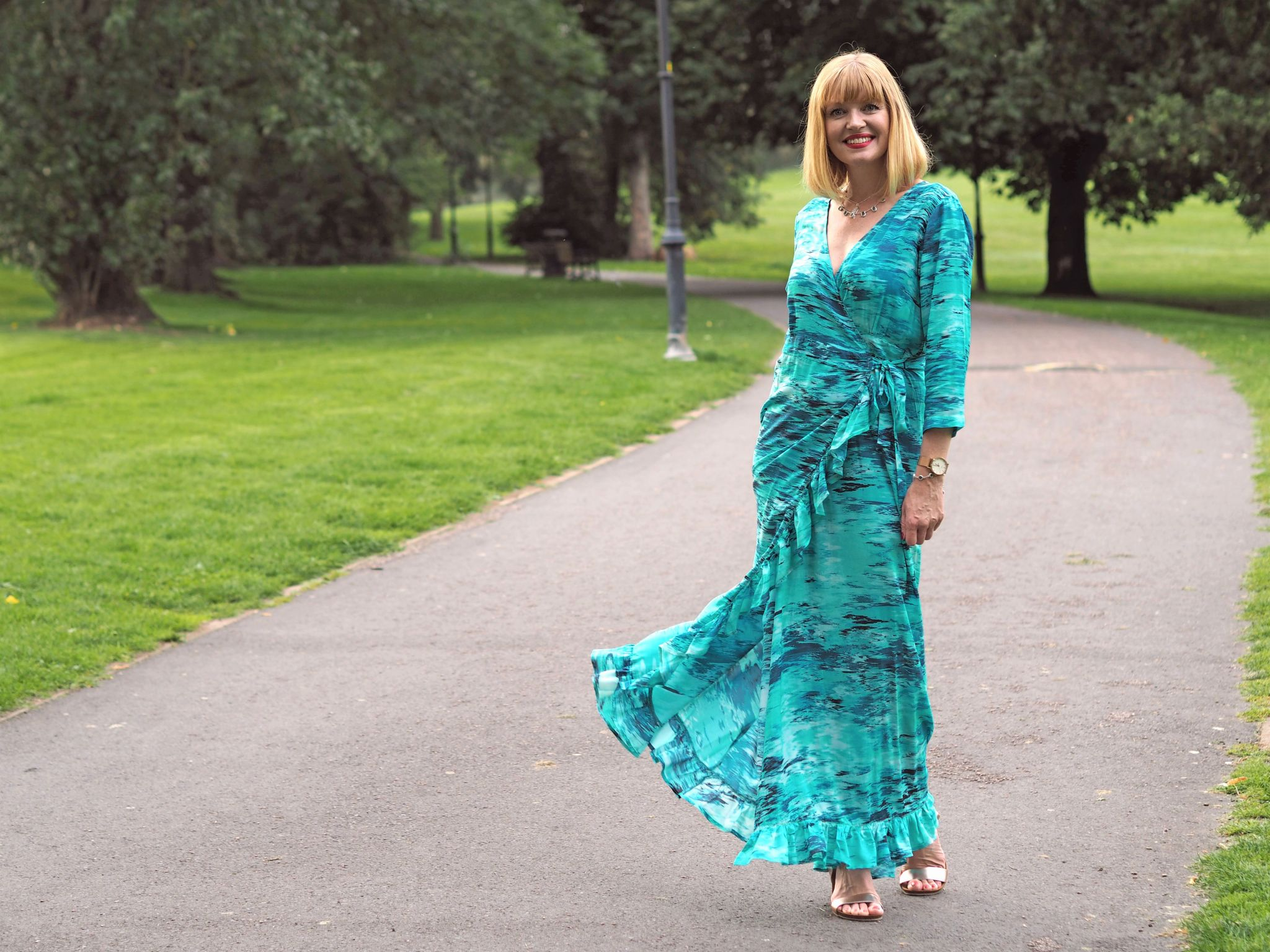 what lizzy loves wearing Sophia Alexia ruffle maxi wrap dress