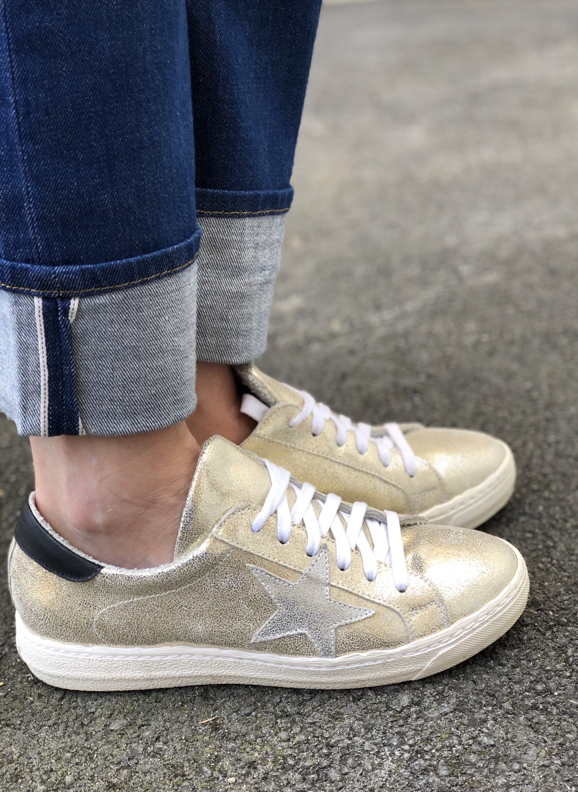 russell and bromley leather gold star sneakers trainers