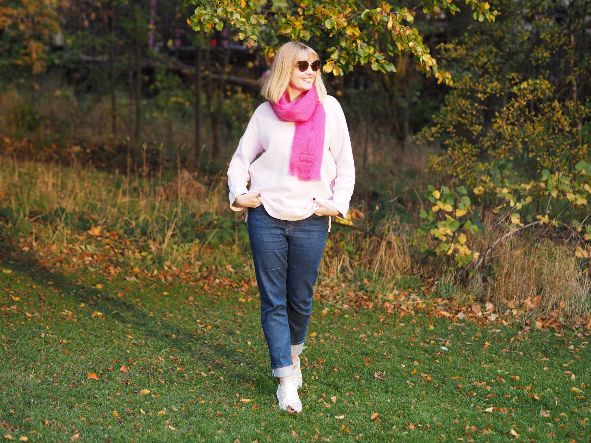 what Lizzy loves pink outfit autumn