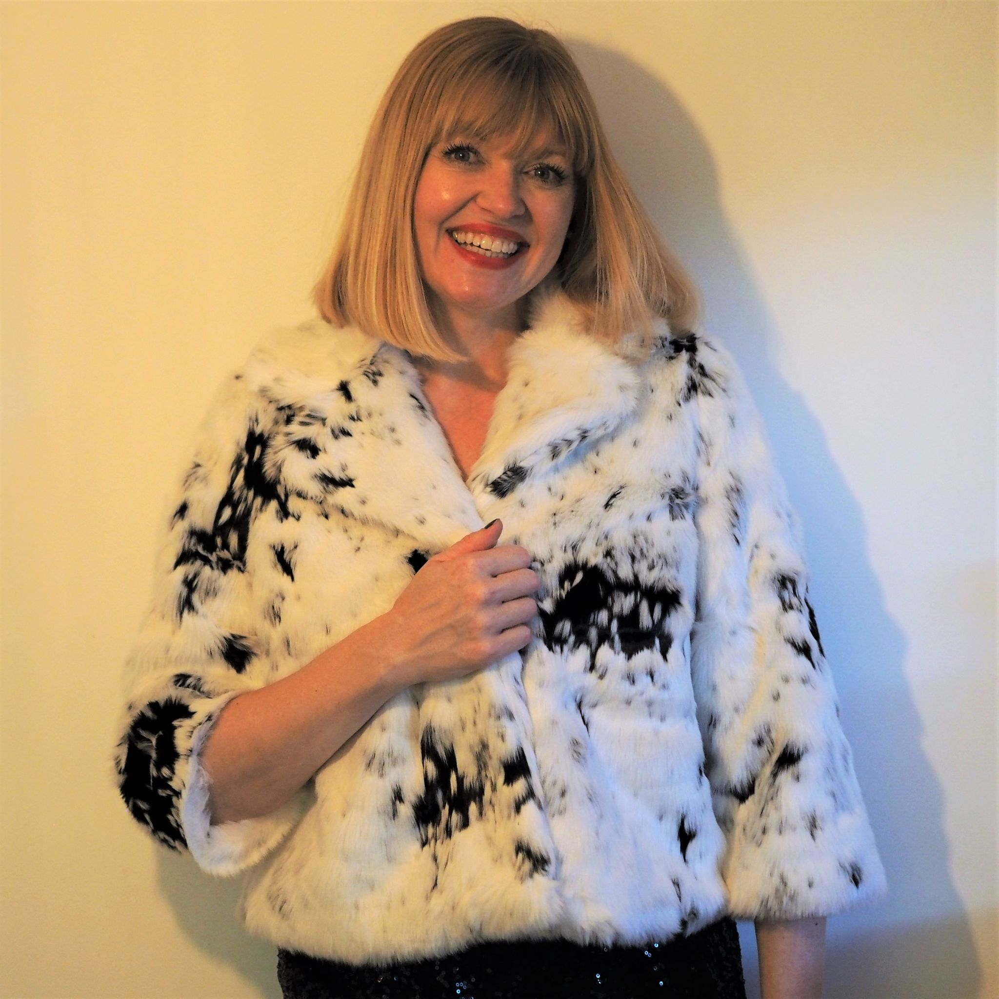 JDW snow leopard faux fur jacket