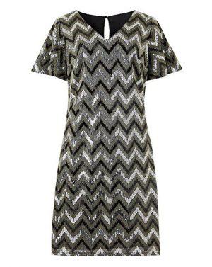 Chevron Sequin Dress