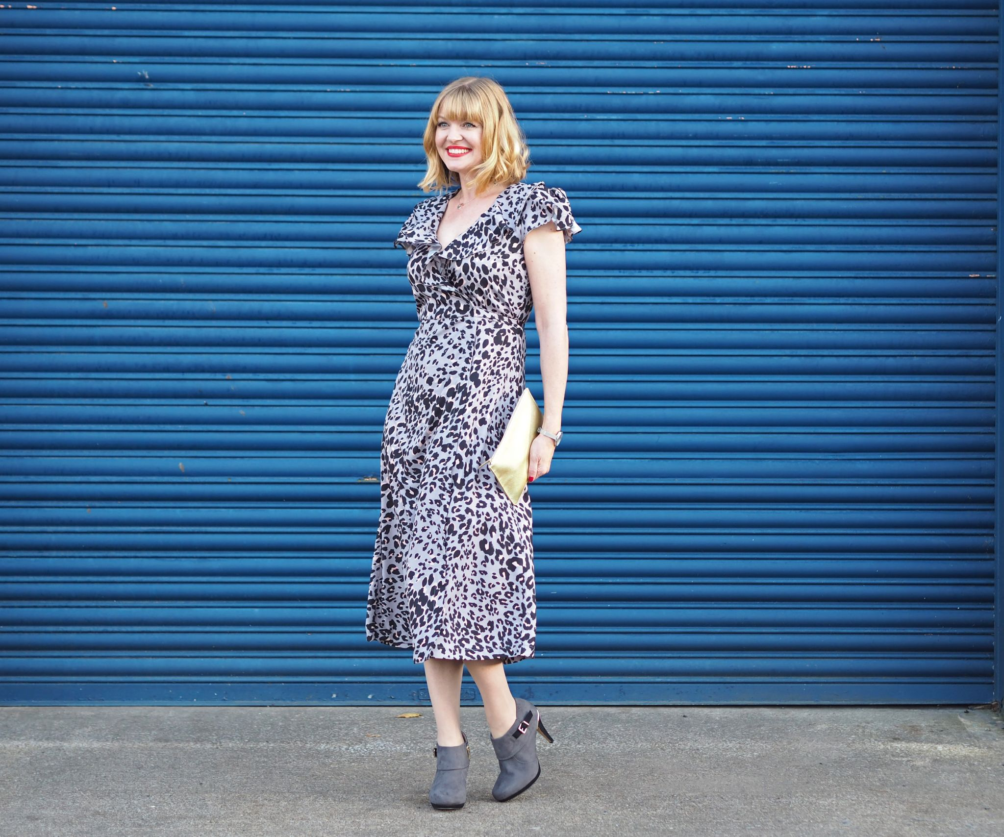lily and lionel grey leopard wrap dress grey ankle boots