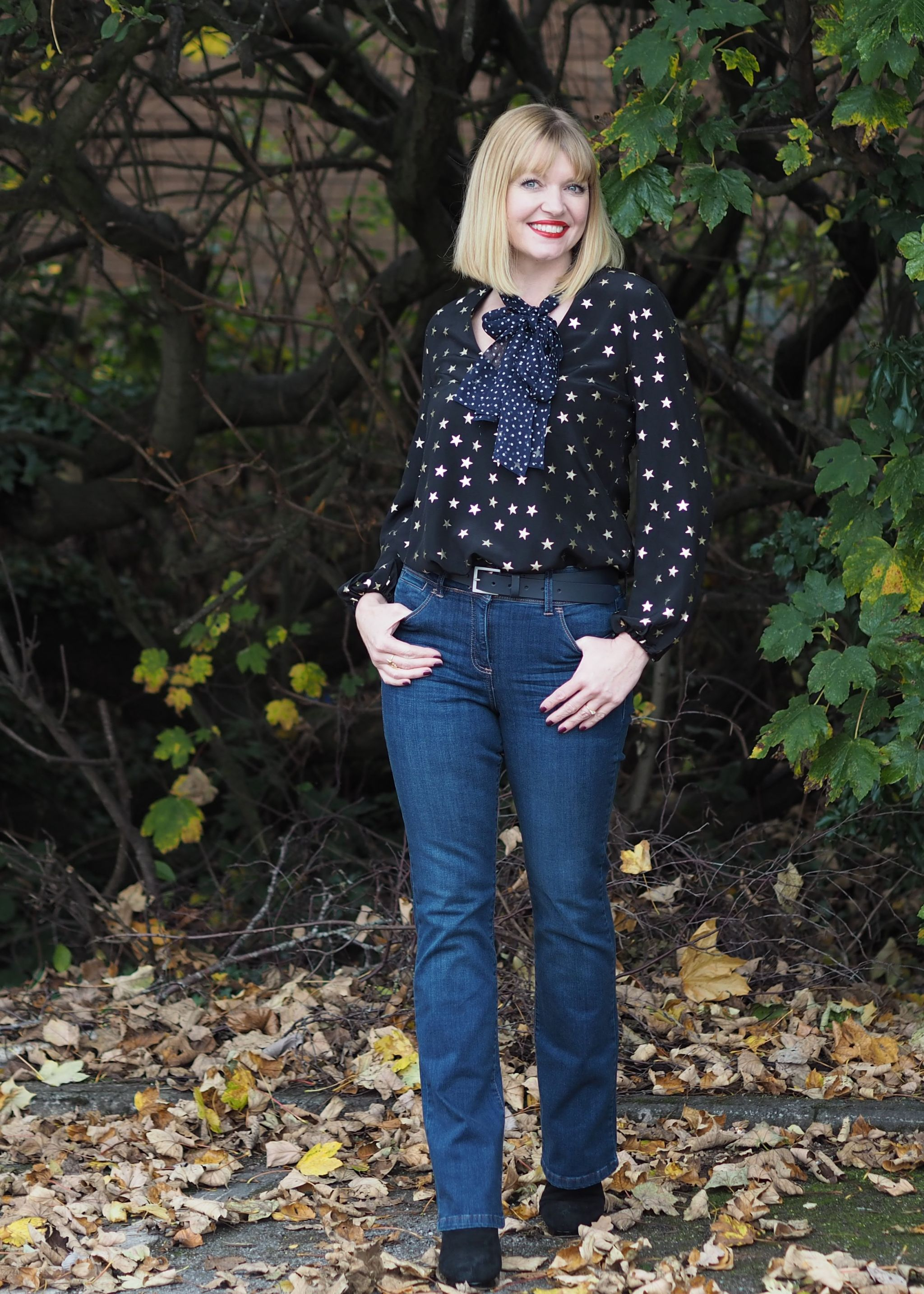 Rixo stars and dot blouse bootcut jeans