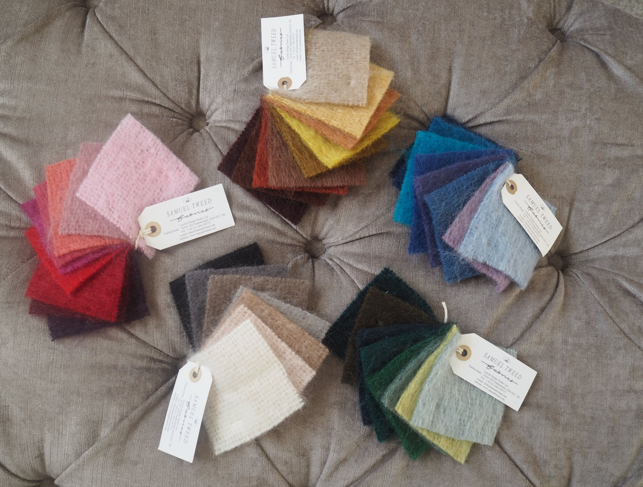 Coloured mohair fabric swatches