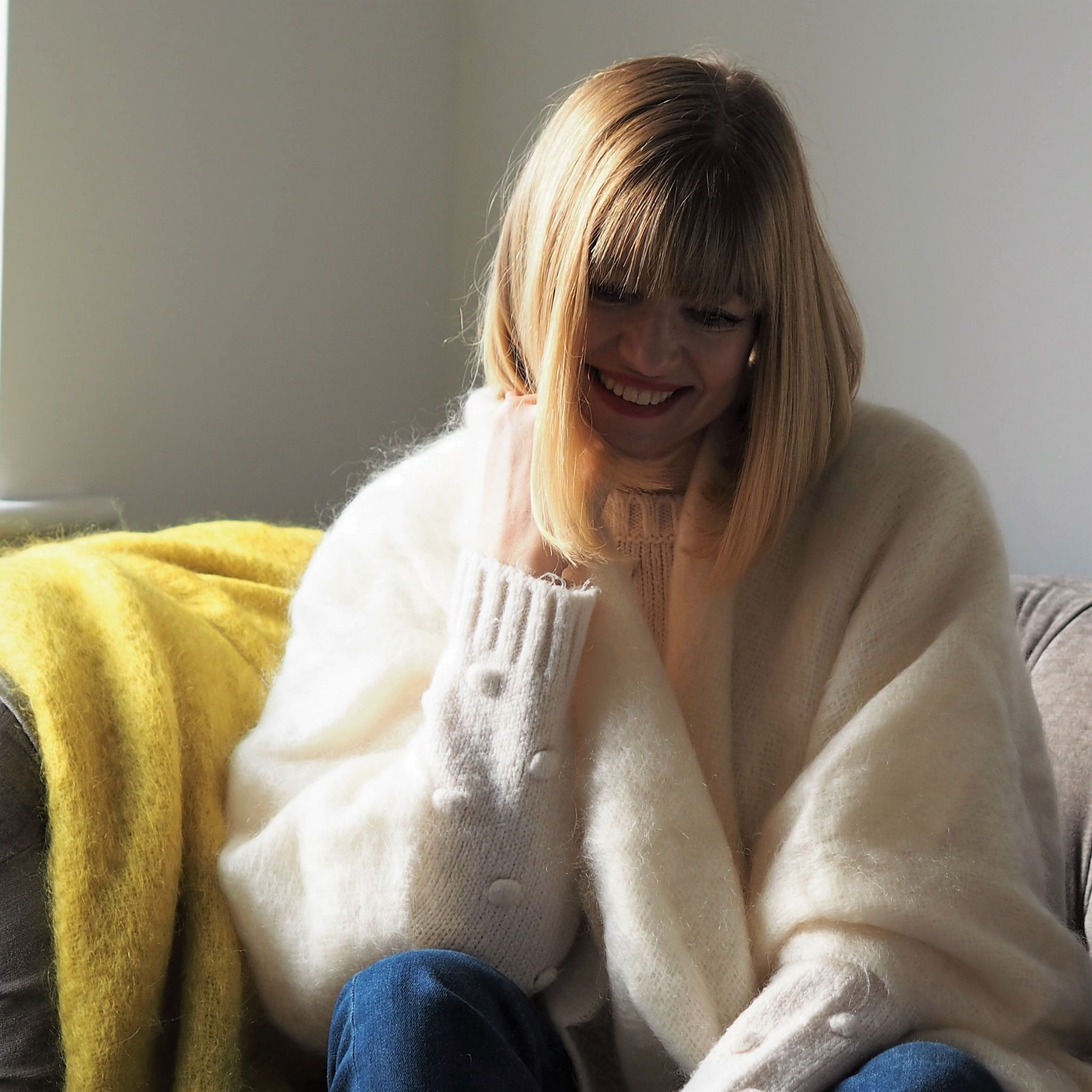 what lizzy loves wears ecru mohair serape