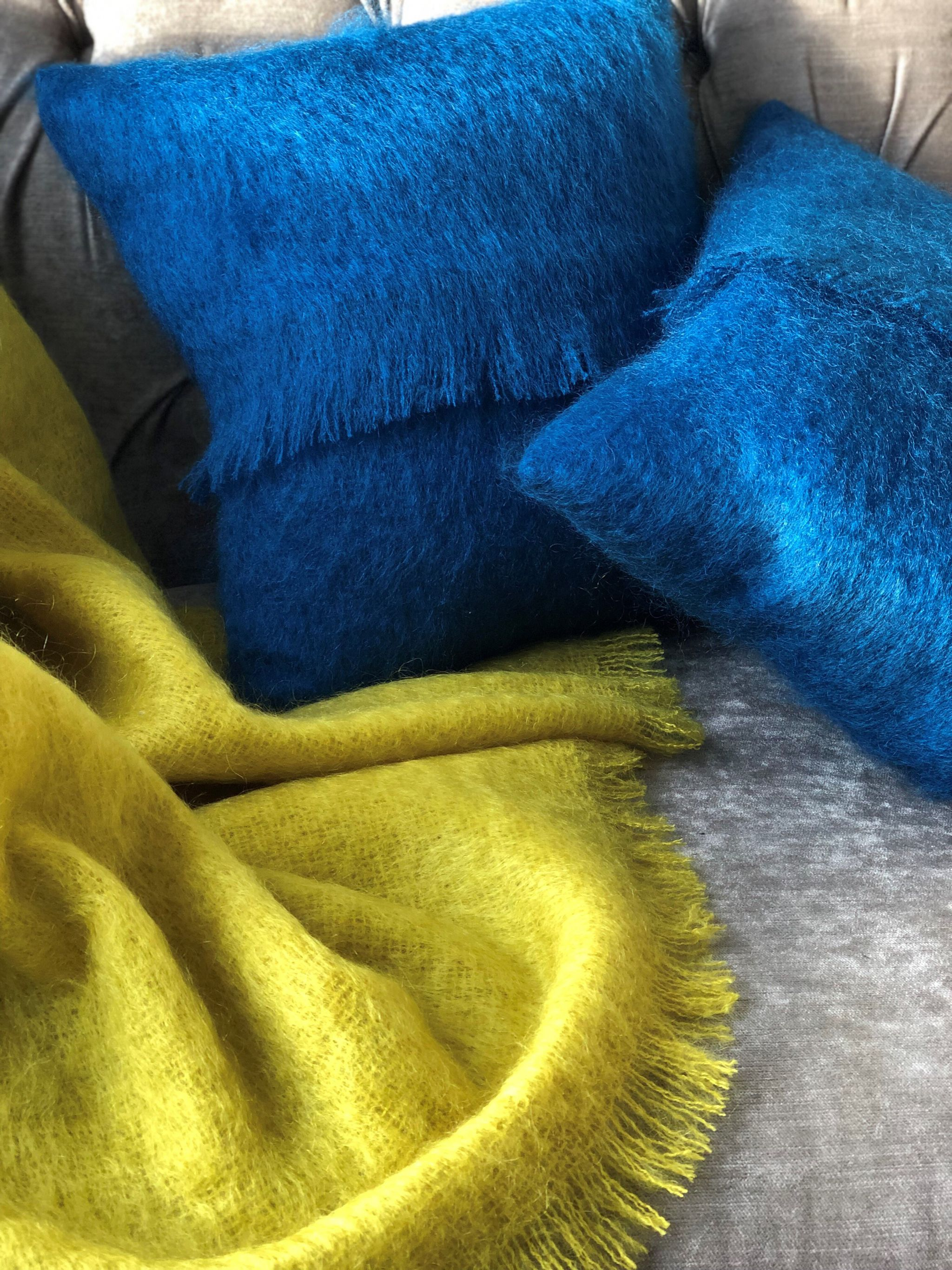 Mustard mohair throw mallard cushions