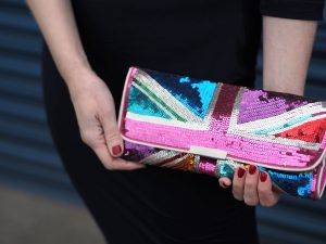 mukti-coloured sequin union jack clutch bag