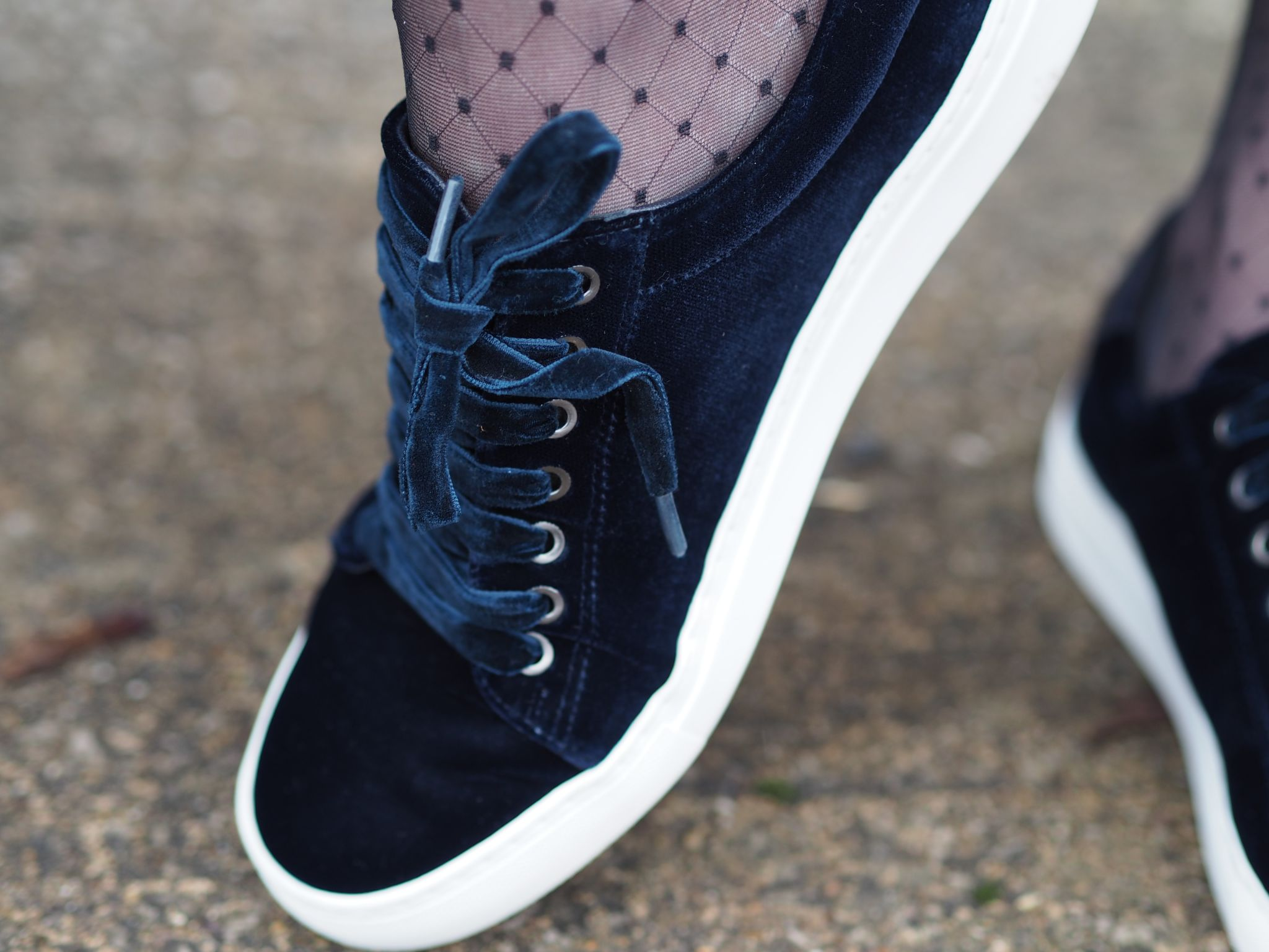 navy velvet pumps with navy laces