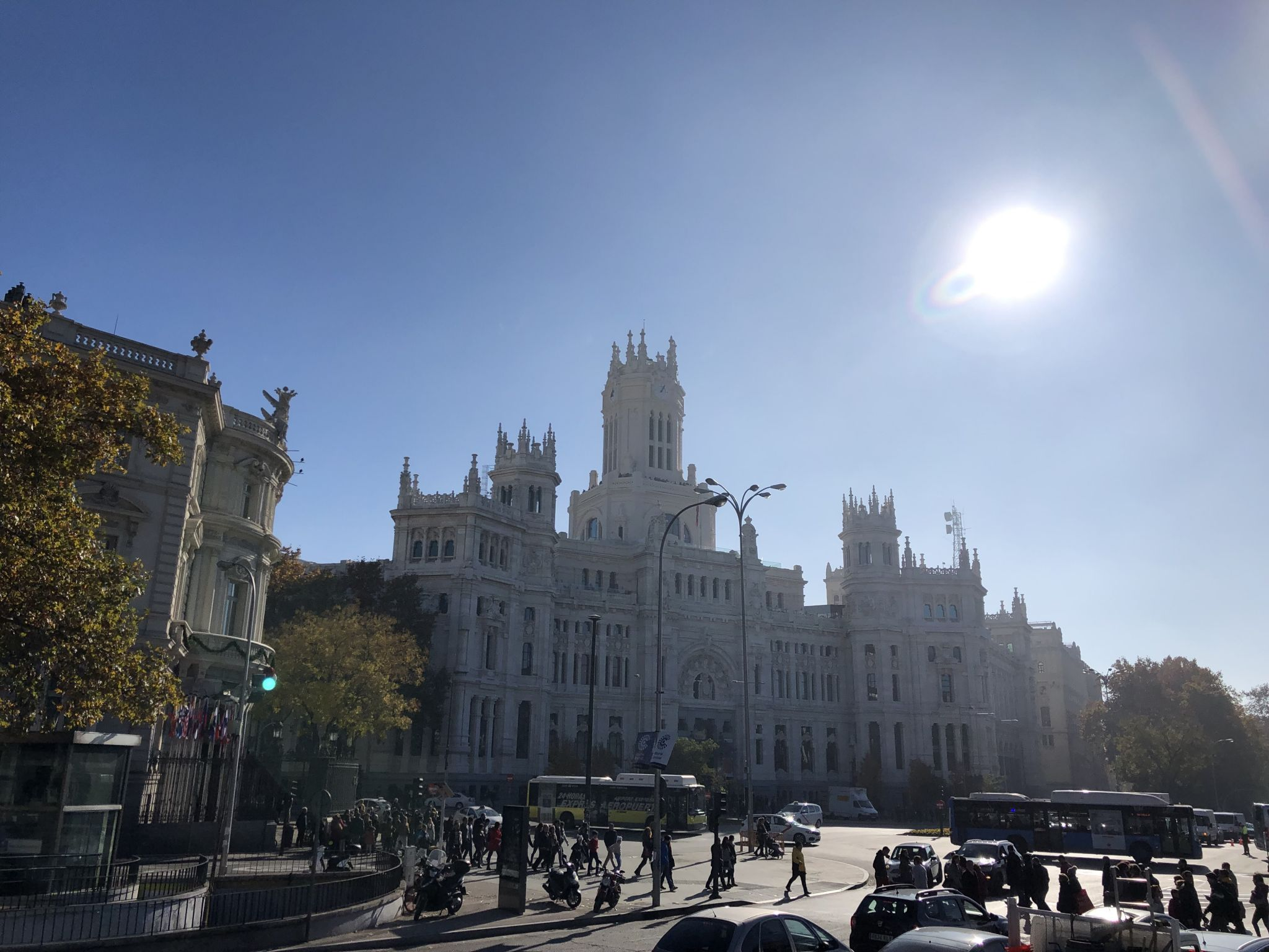open top bus tour of Madrid in December