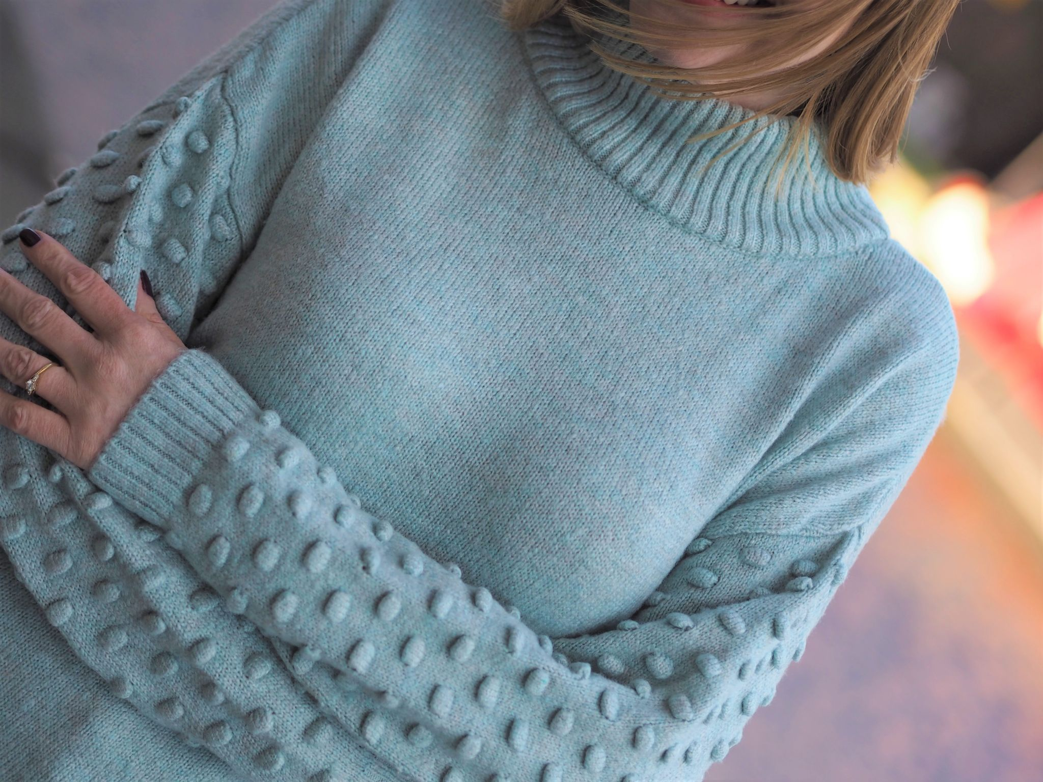 Aqua cotton bobble sleeve jumper