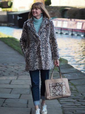 aqua bobble sleeve jumper leopard faux fur coat gold sneakers