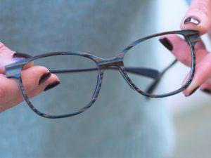 feb31st aqua striped wooden eyewear