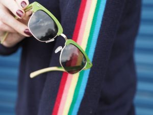 fresh for pandas half-wood green sunglasses sustainable