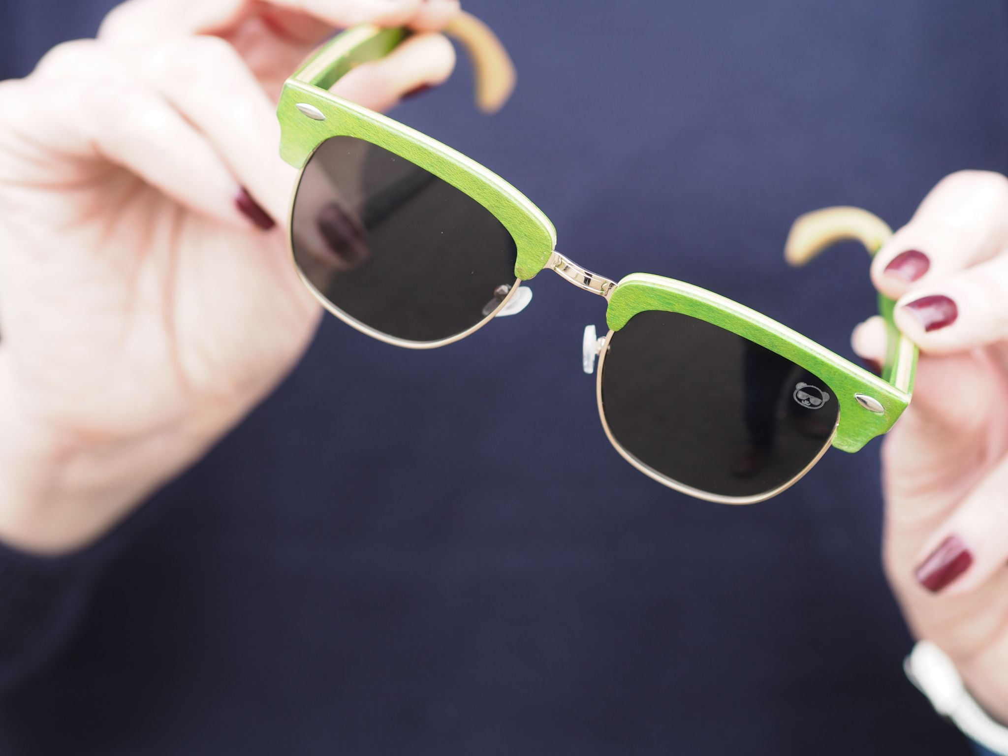 fresh for pandas half-wood green sunglasses sustainable