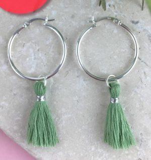 Sterling Silver Tassel Earrings, Sage Green