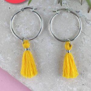 Sterling Silver Tassel Earrings, yellow