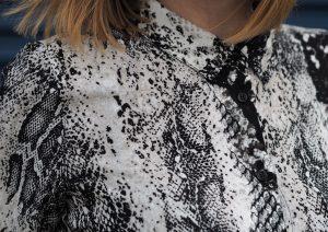 snake print shirt dress