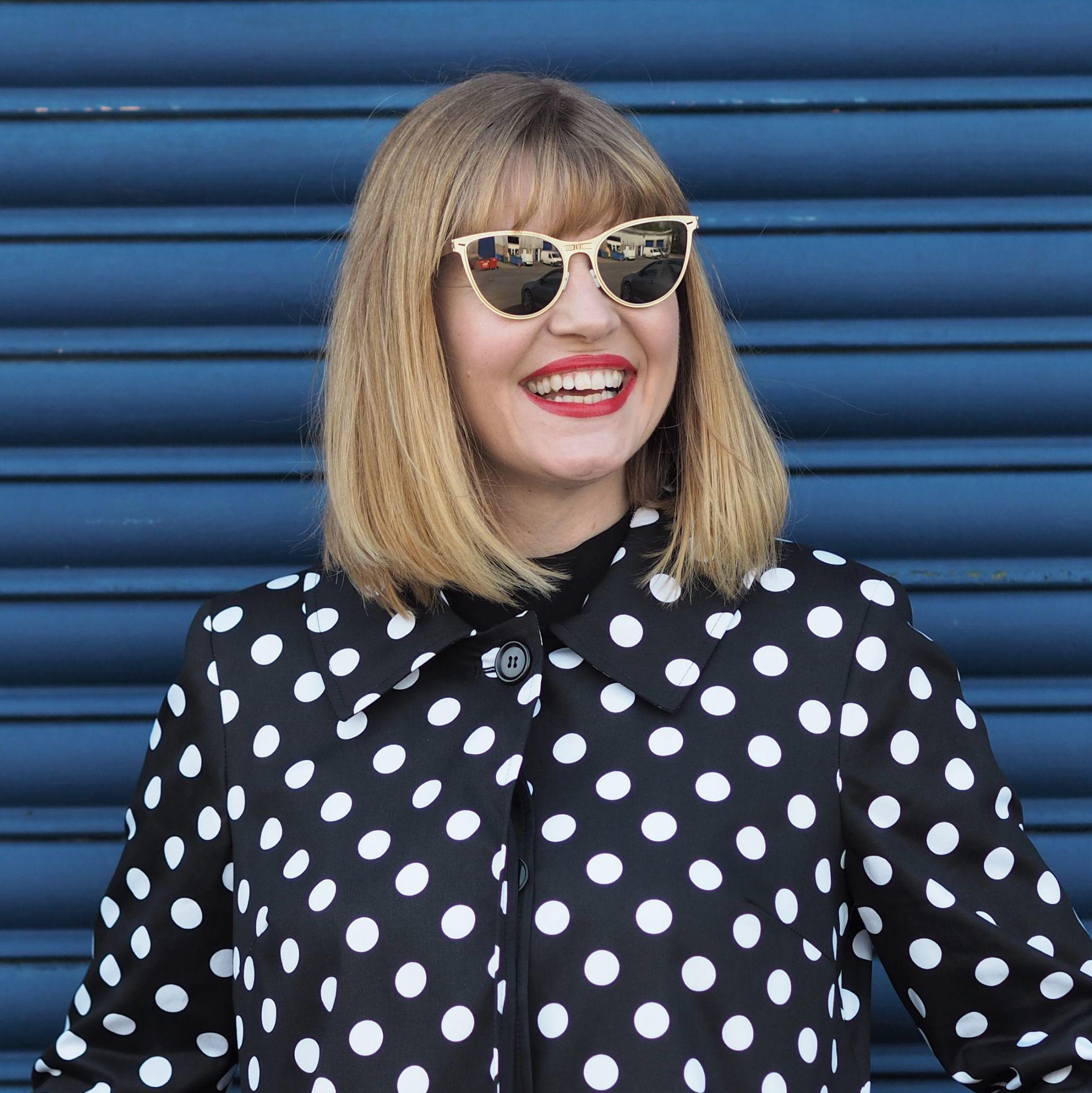 black and white spot swing coat gold cat eye ROAV sunglasses