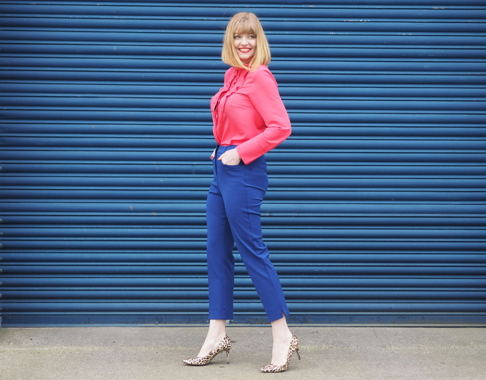 bright pink and cobalt blue outfit