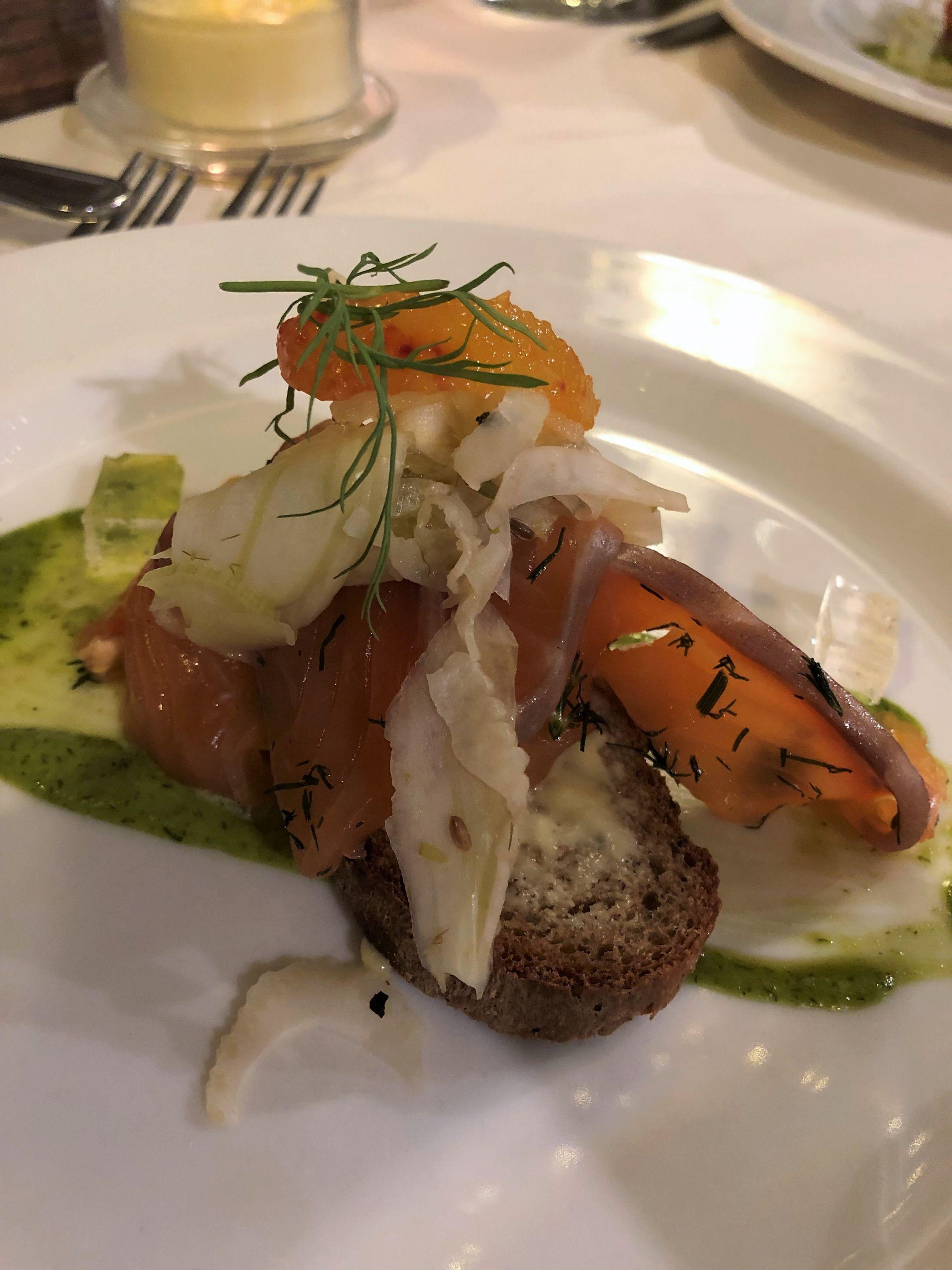Le Caveau restaurant Skipton, gin cured gravadlax