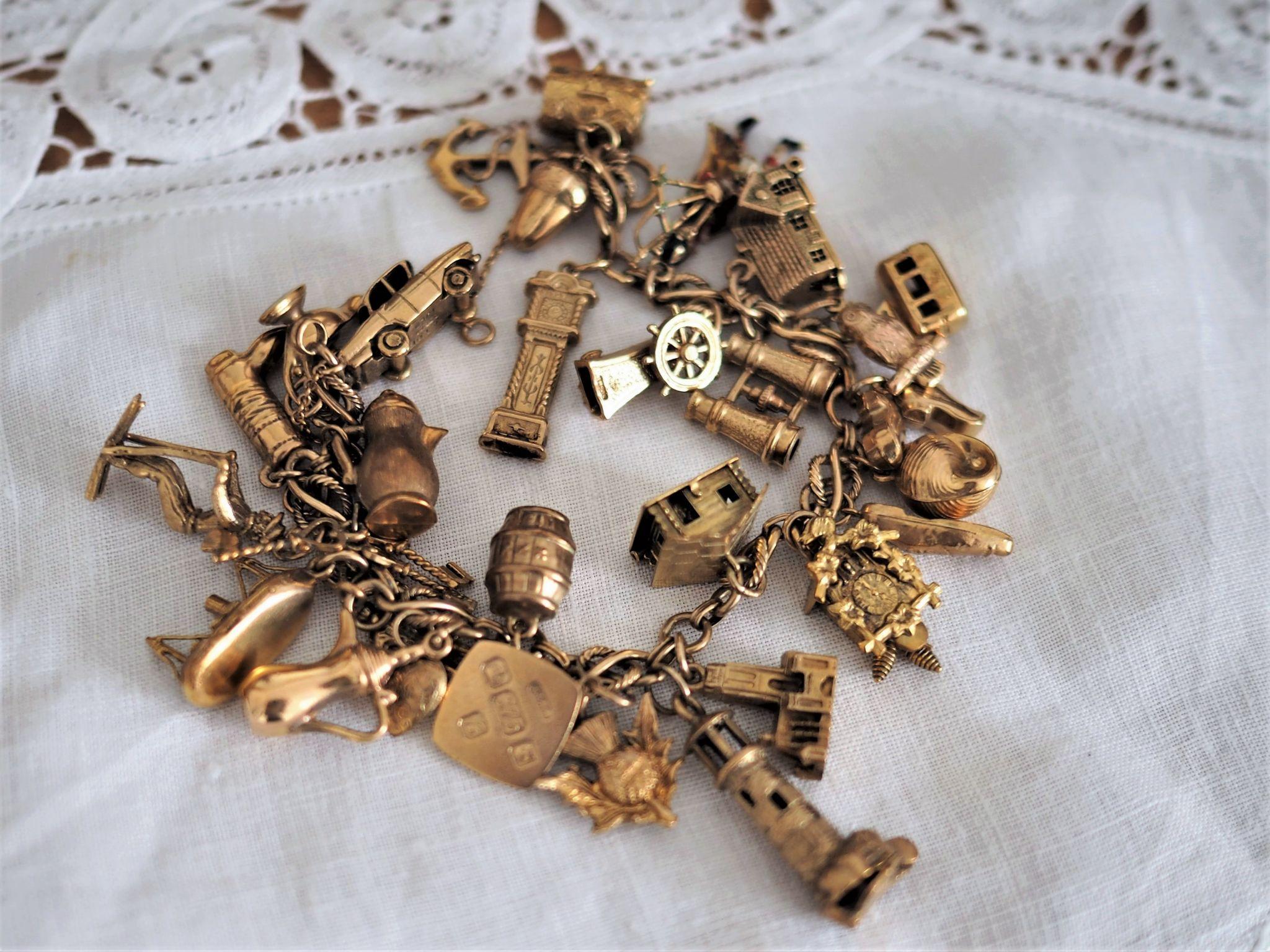Traditional gold charm bracelet