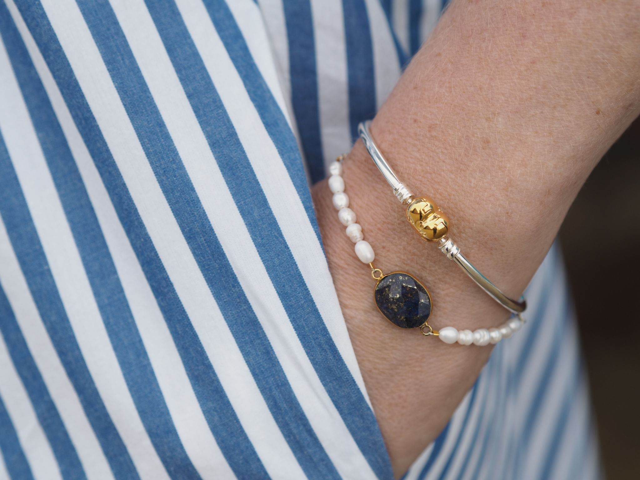 Freshwater pearl bracelet and silver Pandora bangle