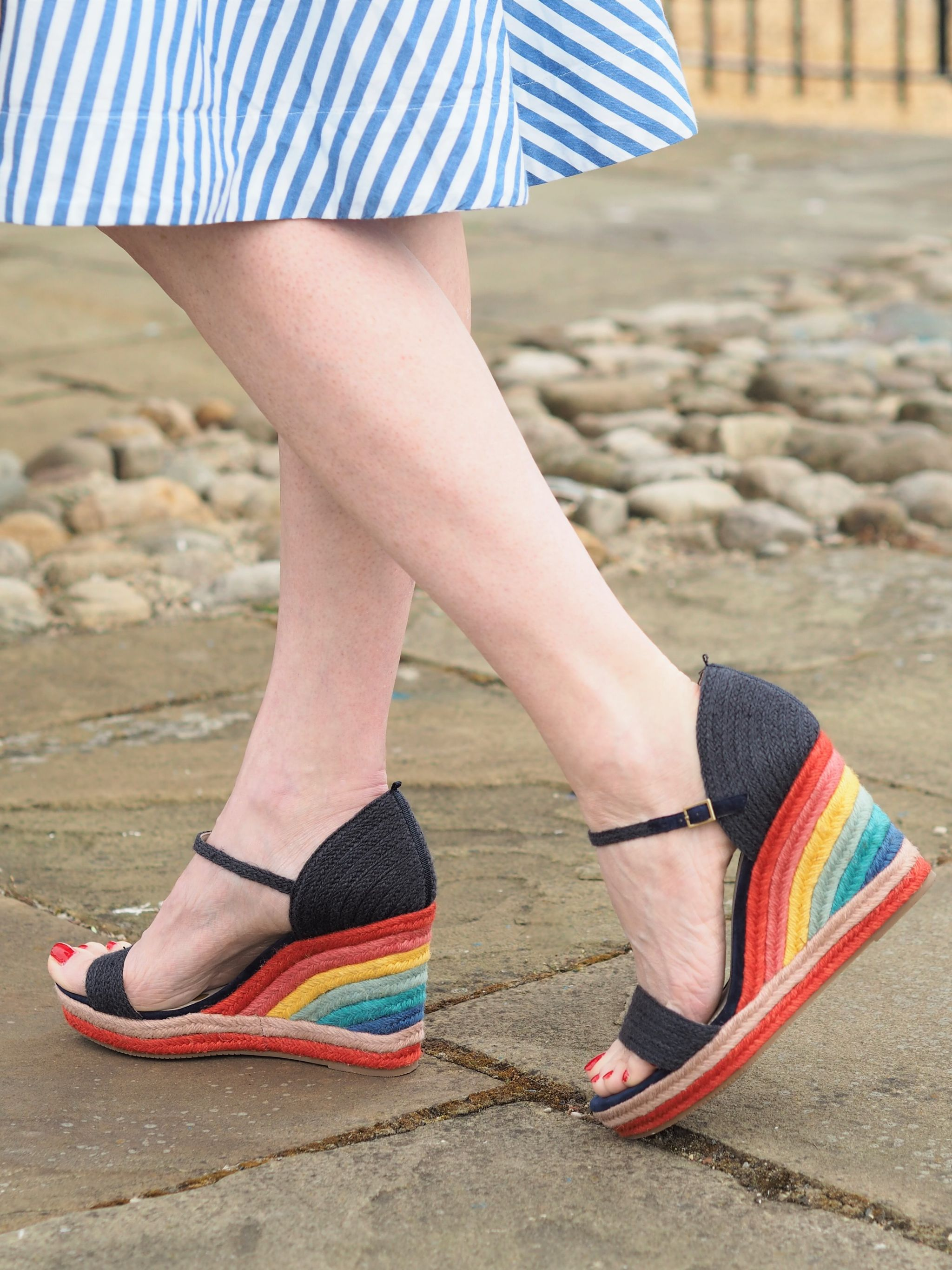 Boden Lily navy and rainbow espadrille wedges