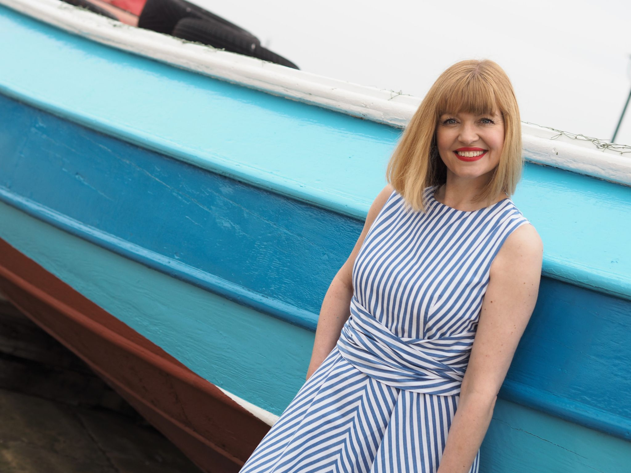 Blue striped 1950s style dress