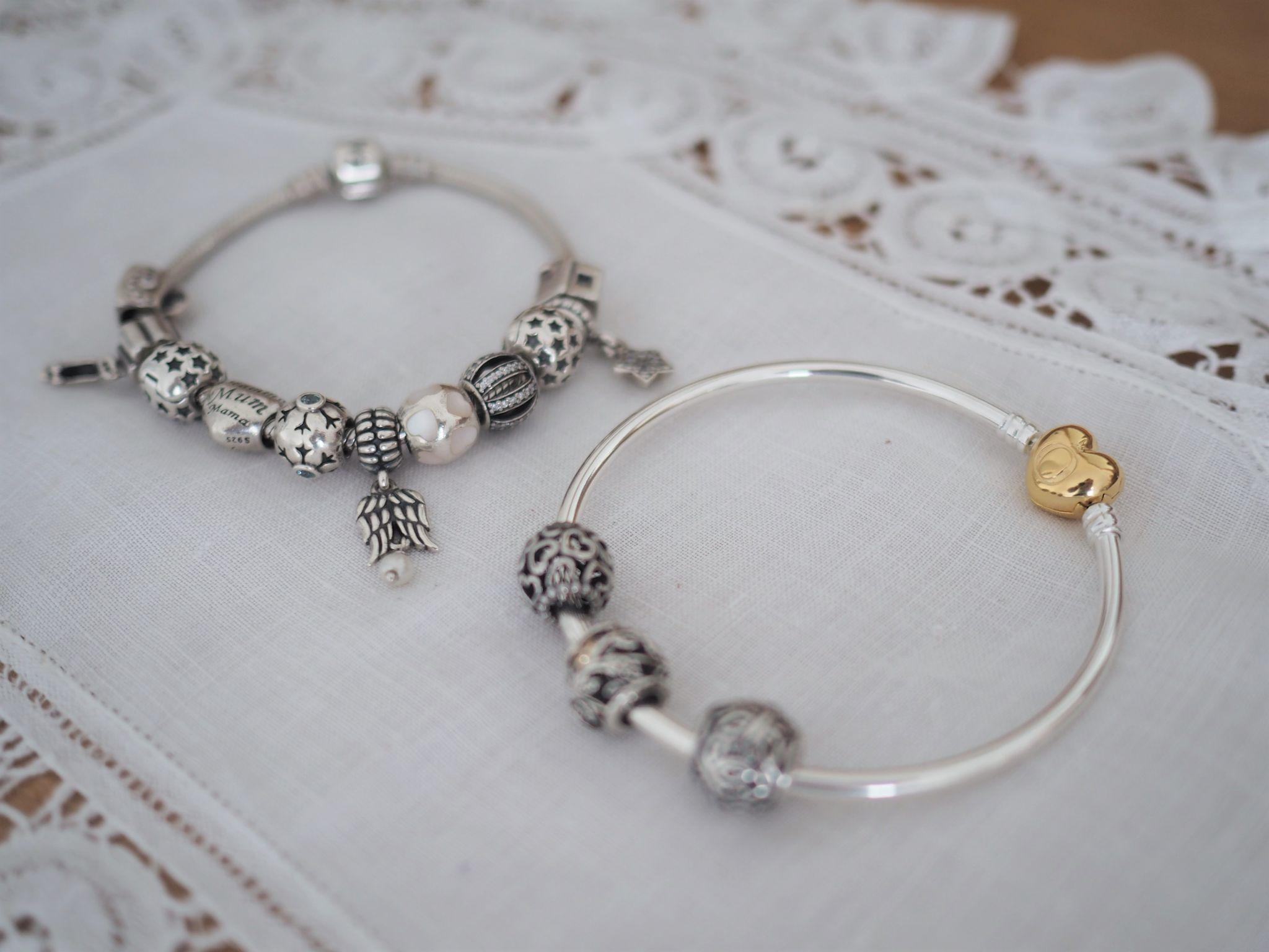 Pandora bracelet and bangle with charms