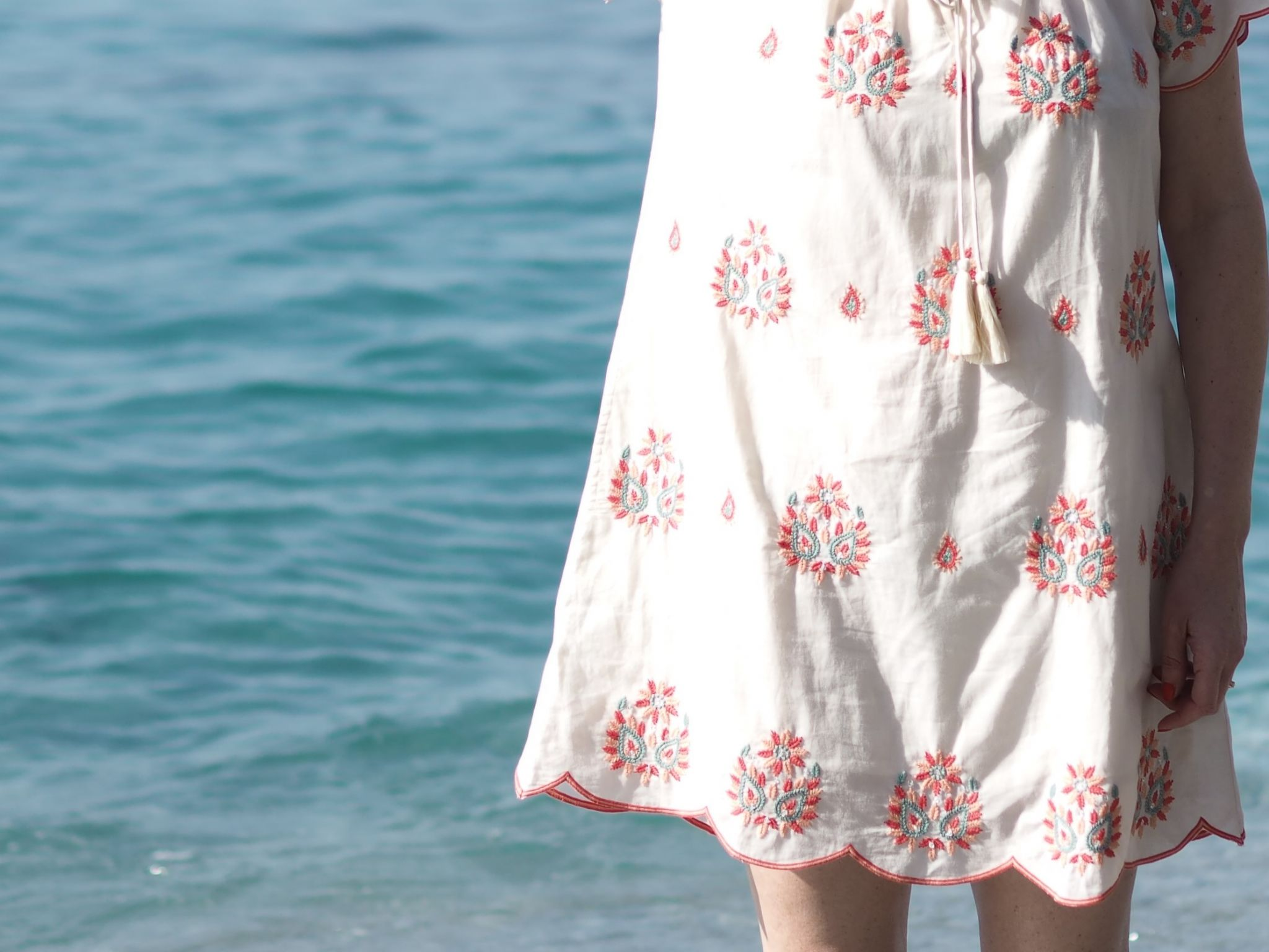 scalloped edge embroidered ethical beach dress