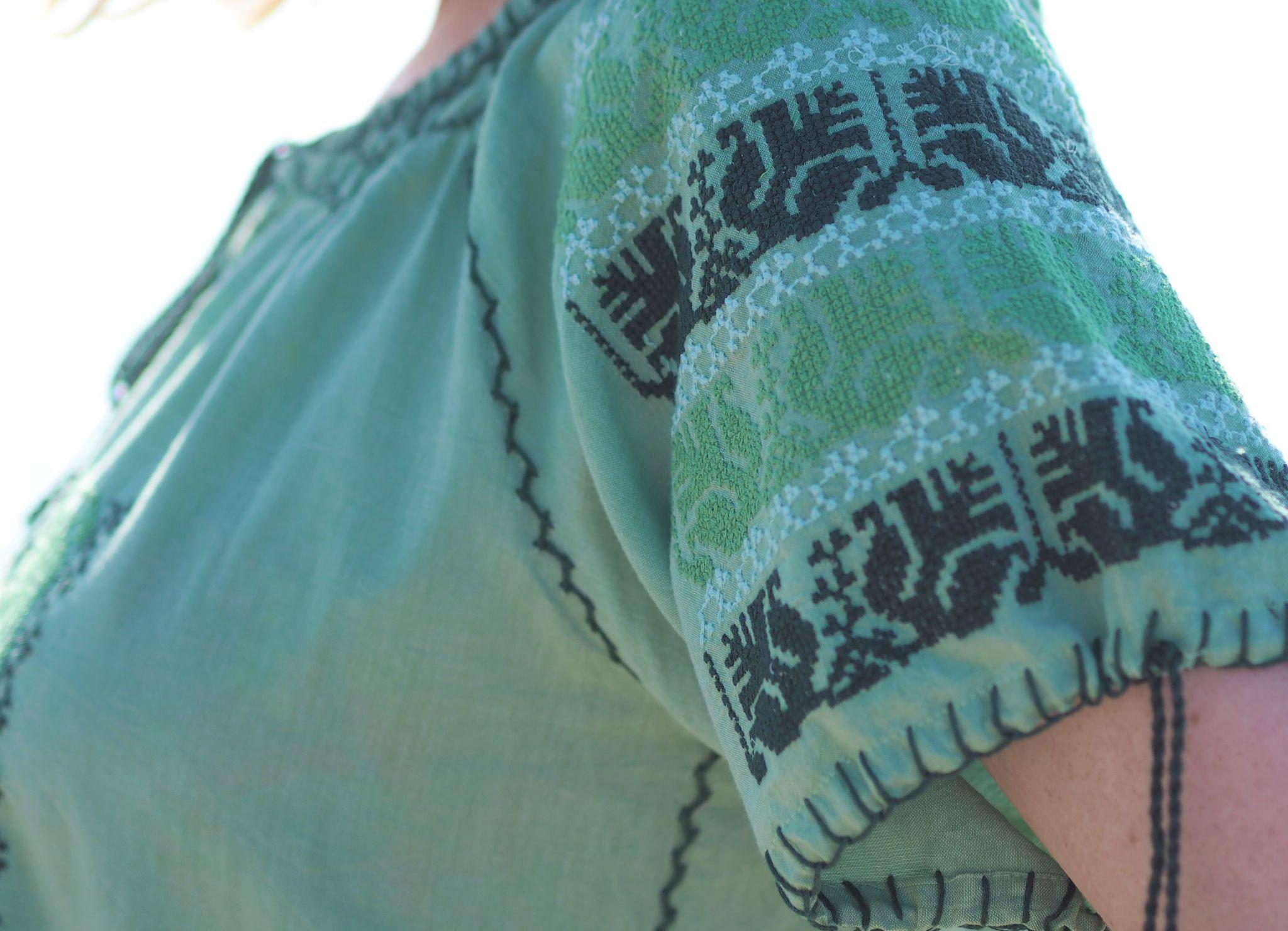Green embroidered beach dress