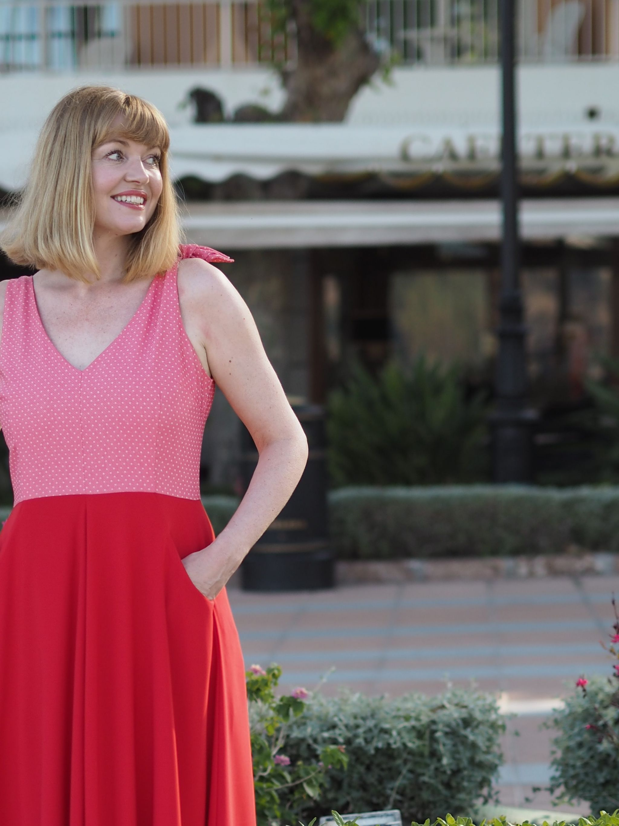 red and pink fifties sundress