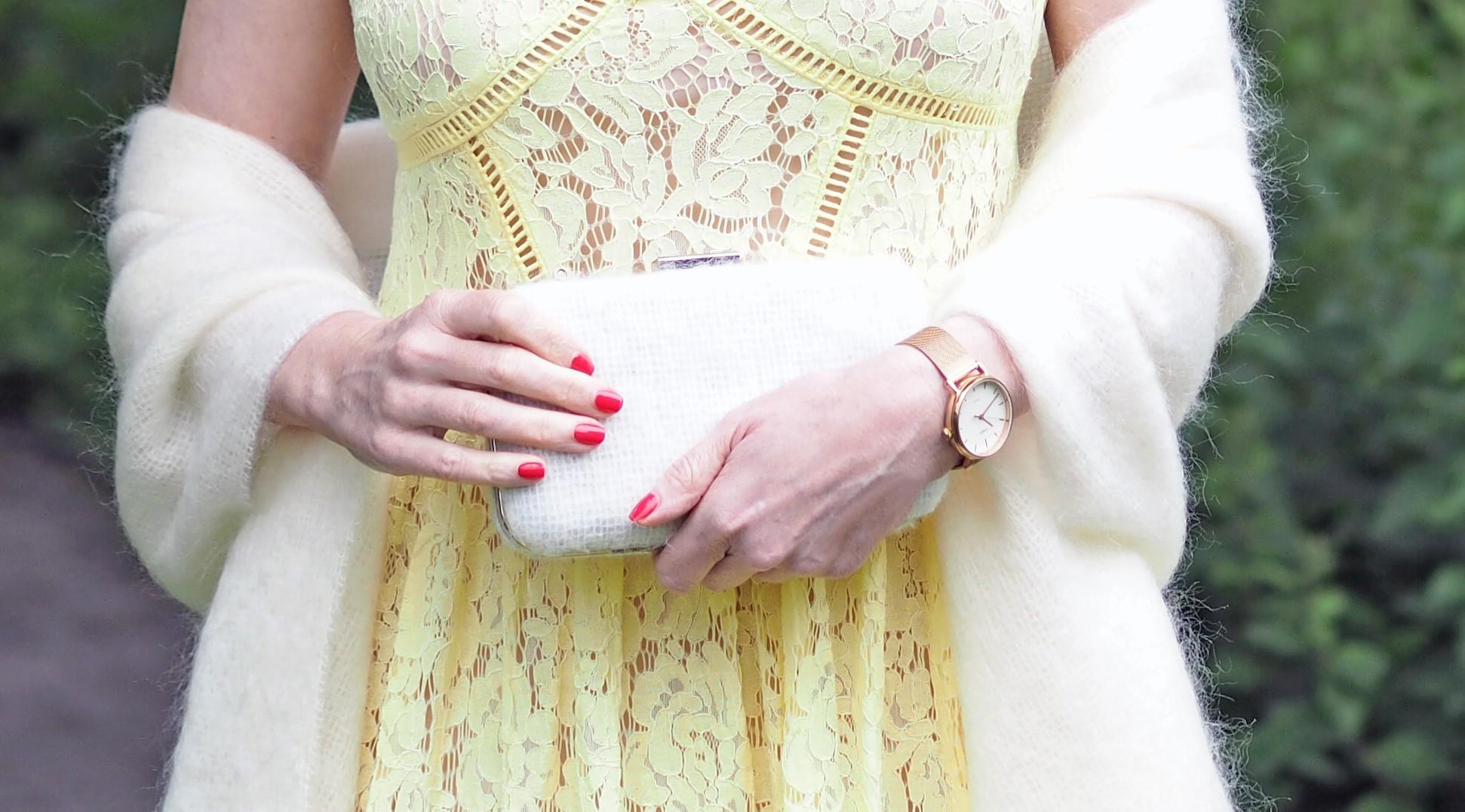 mohair wedding shawl and clutch bag